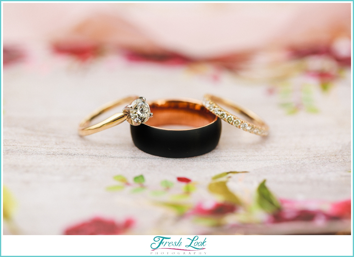 blossoms invitation and wedding ring