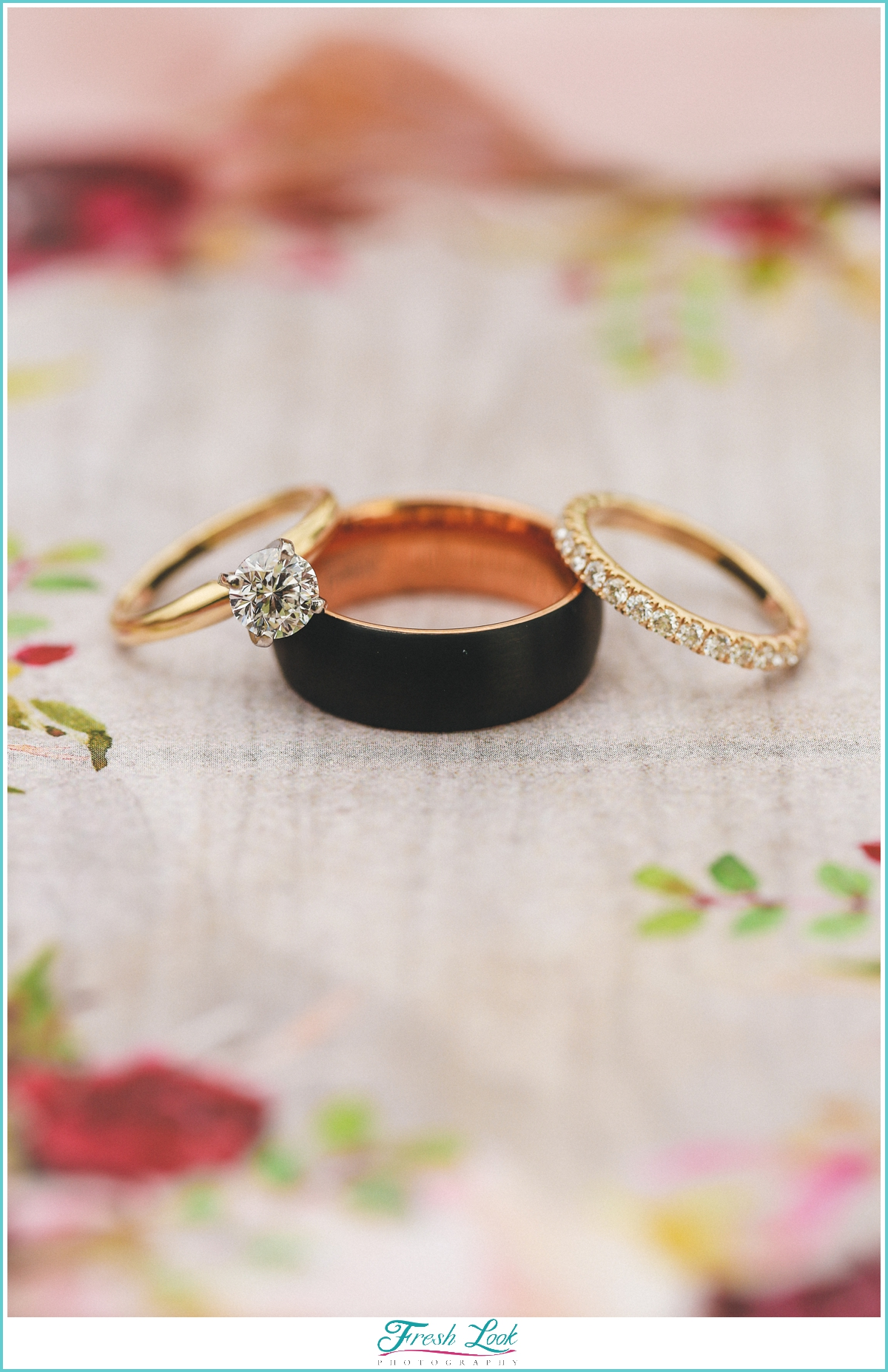 wedding rings on florals