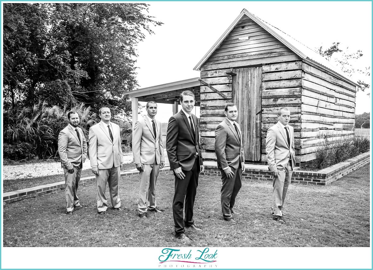 cool groomsmen on the wedding day