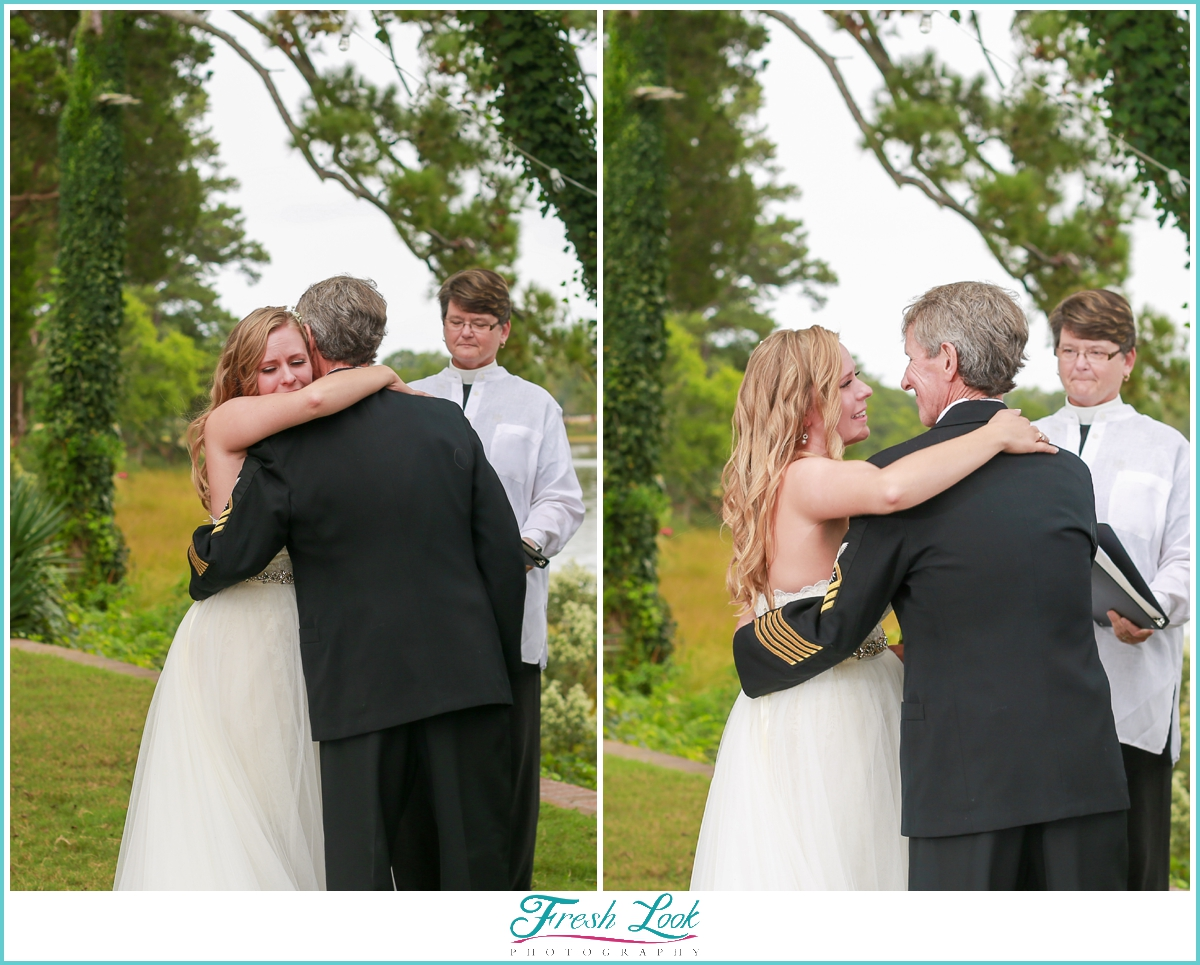 emotional bride with her dad