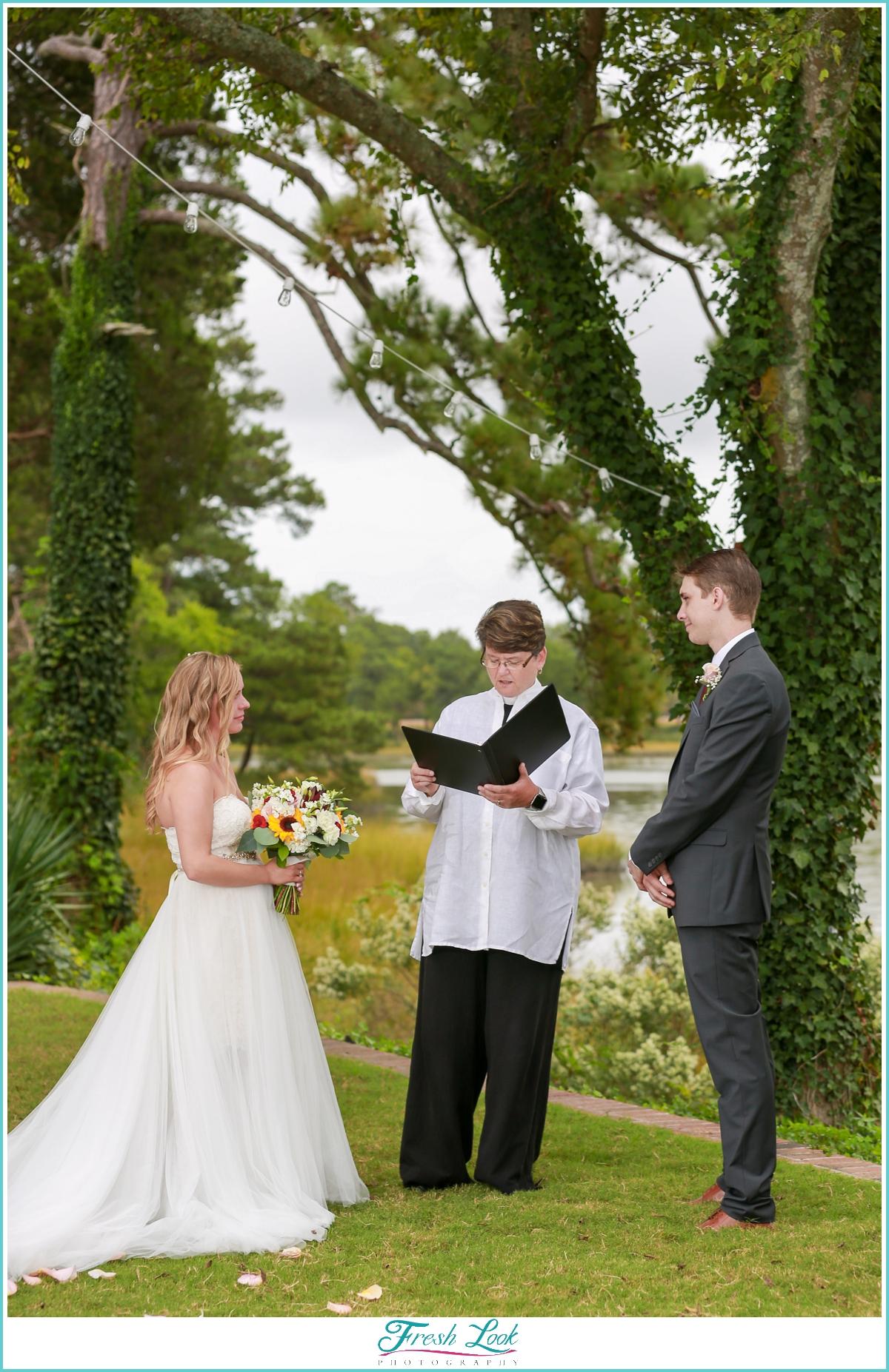 Woodsy wedding ceremony