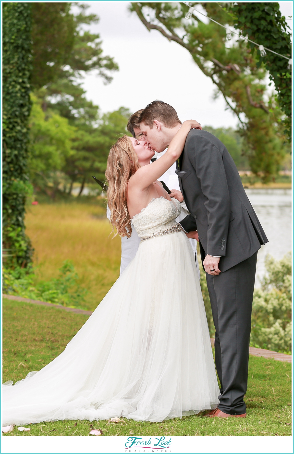 first kiss as Mister and Mrs