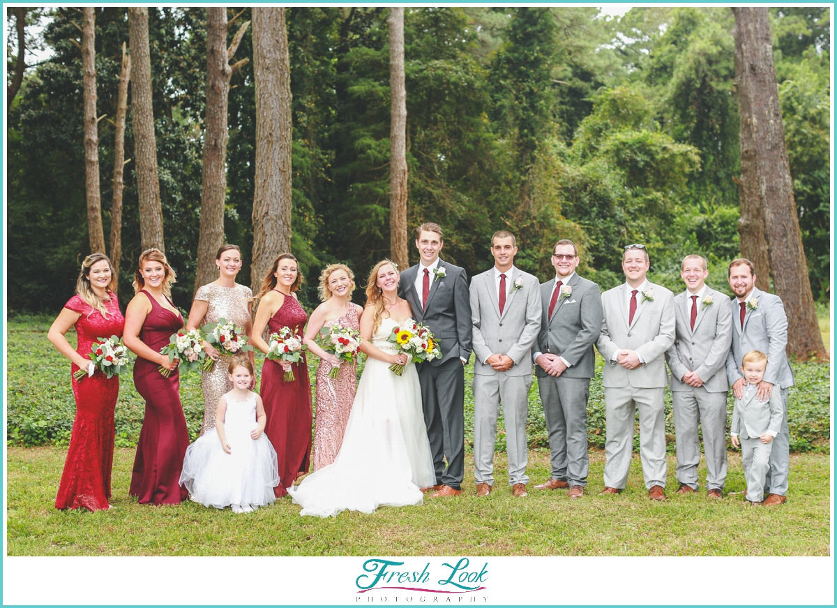 bridal party wearing red