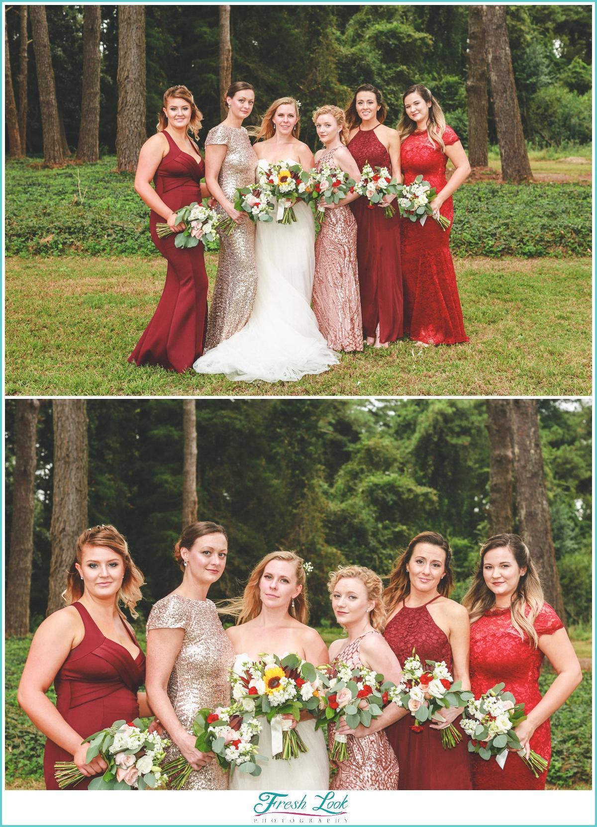 beautiful bridesmaids in red
