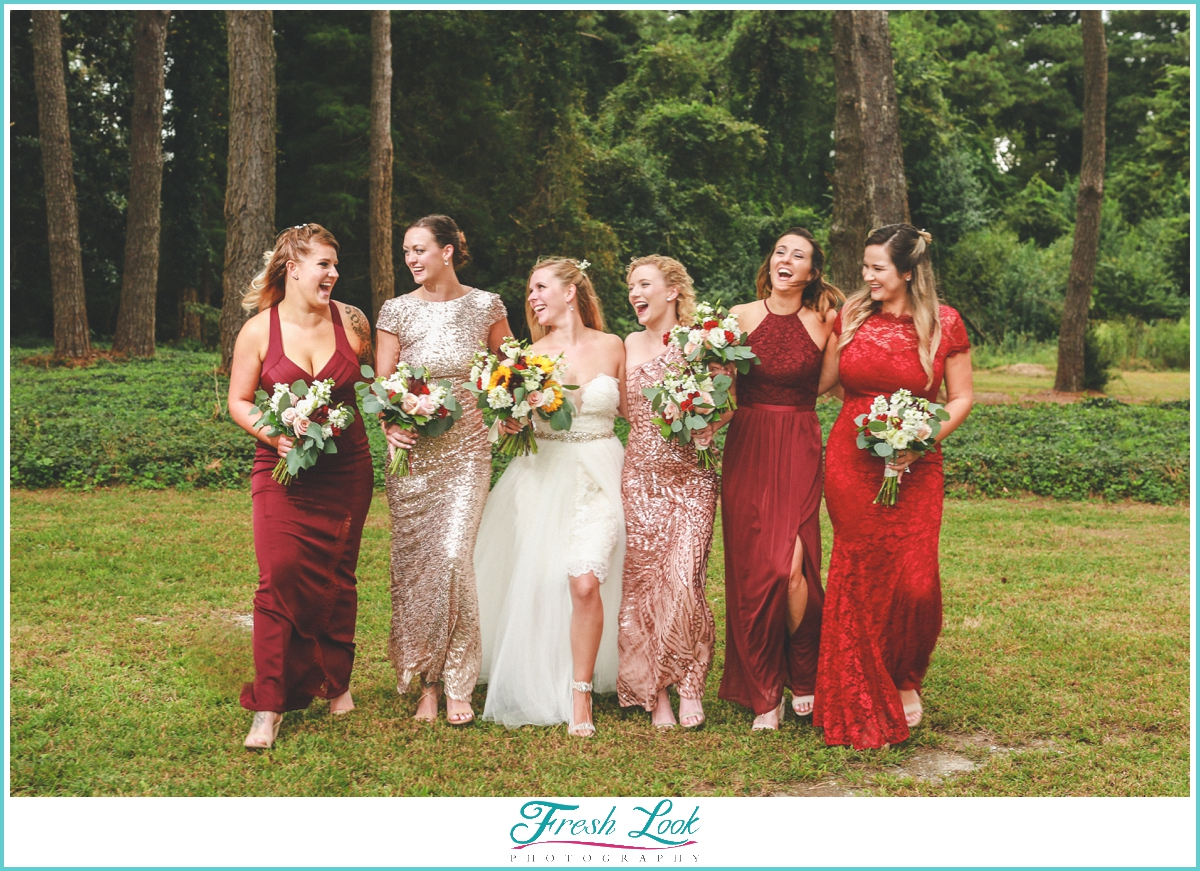 bridesmaids walking and laughing together