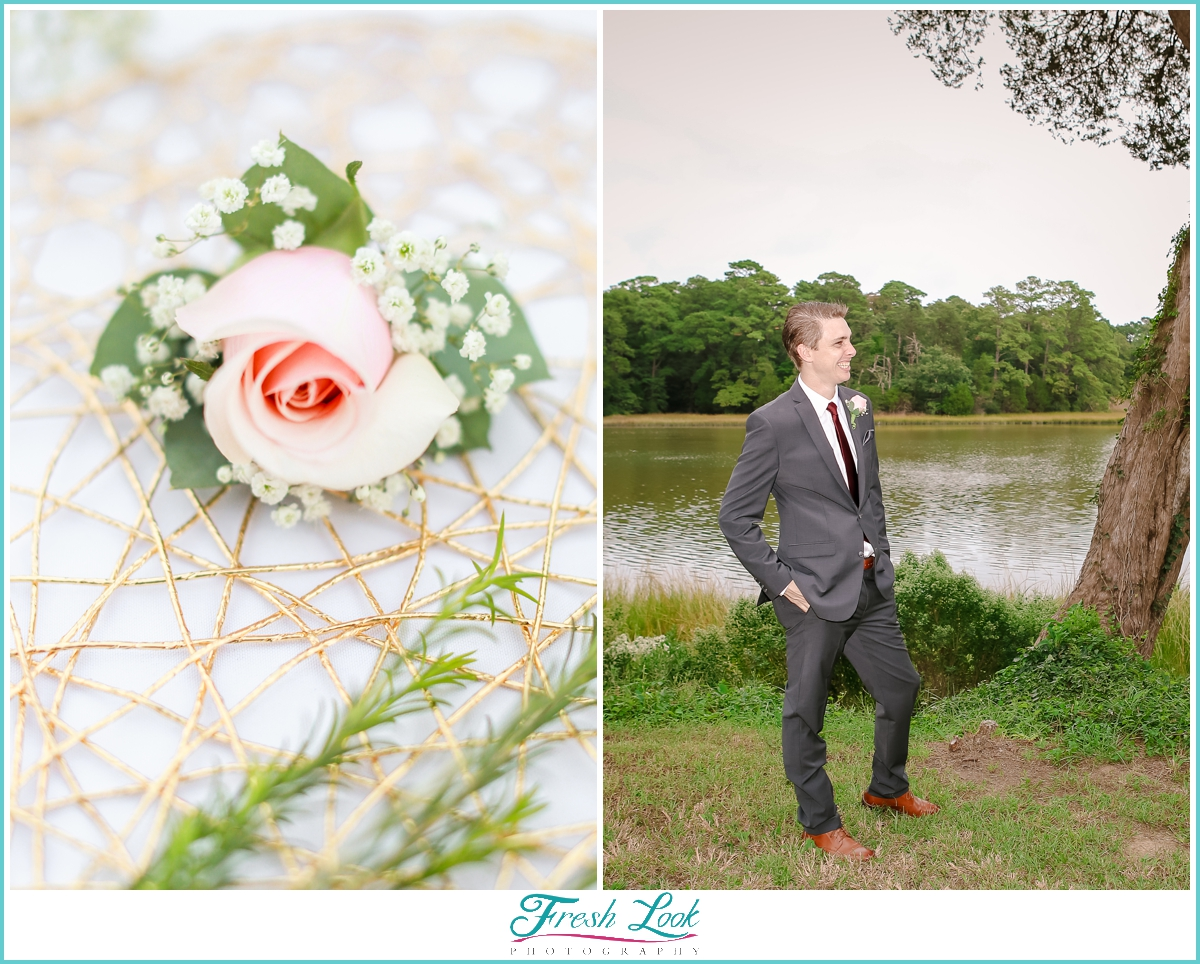 handsome groom wearing rose boutonniere