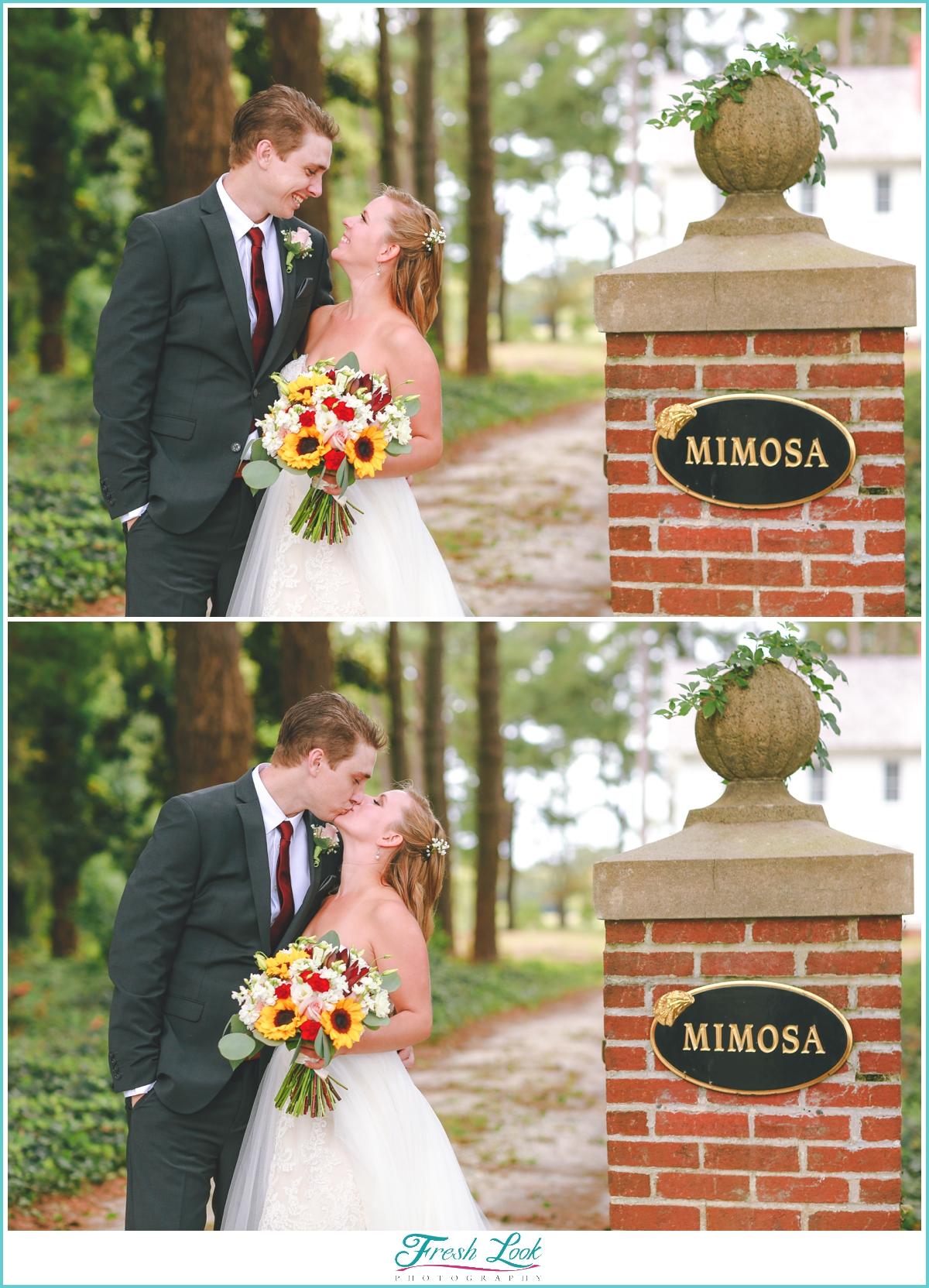 Mimosa Barn wedding bride and groom