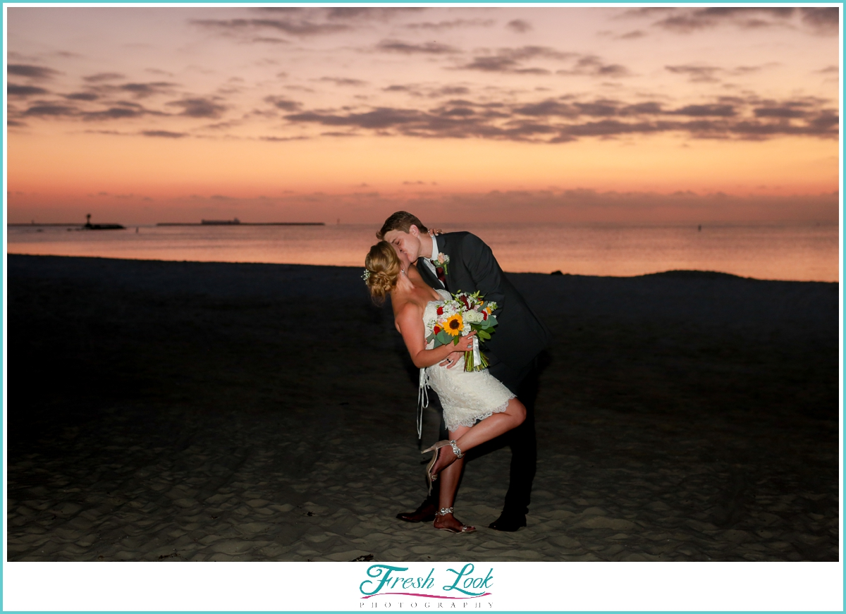 beautiful bride and groom at sunset