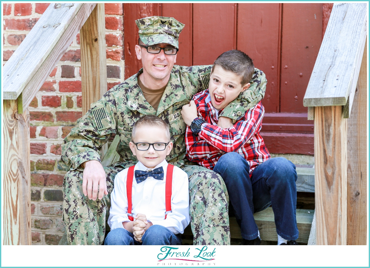 military family goofing off