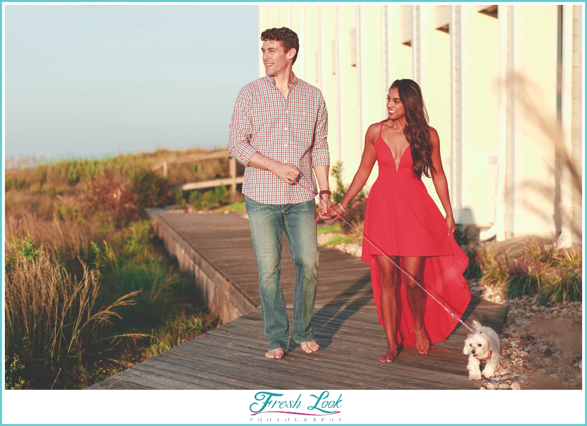 sunset boardwalk engagement photos