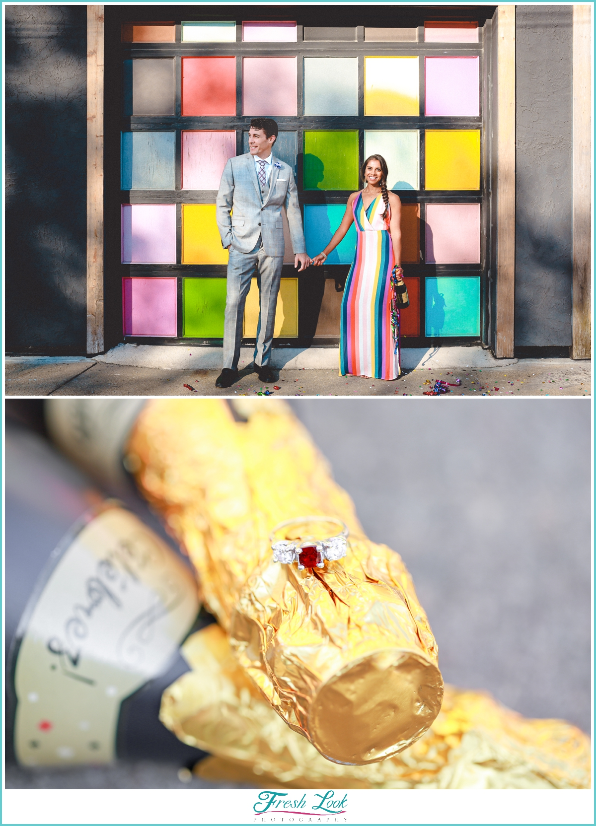 glitter confetti engagement session