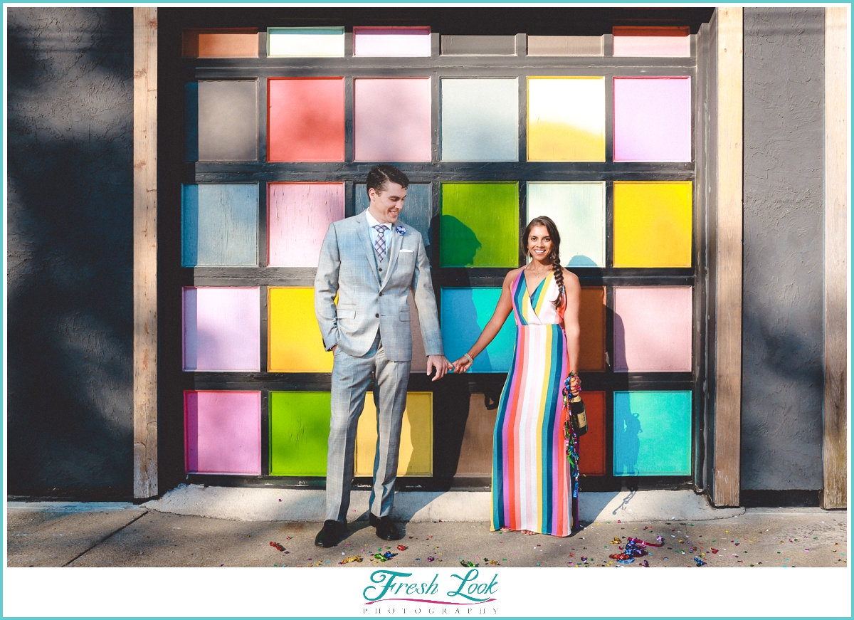 bright and colorful engagement session