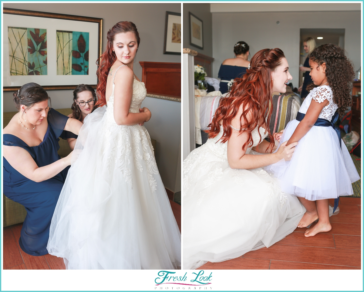 bride and her daughter in wedding dress