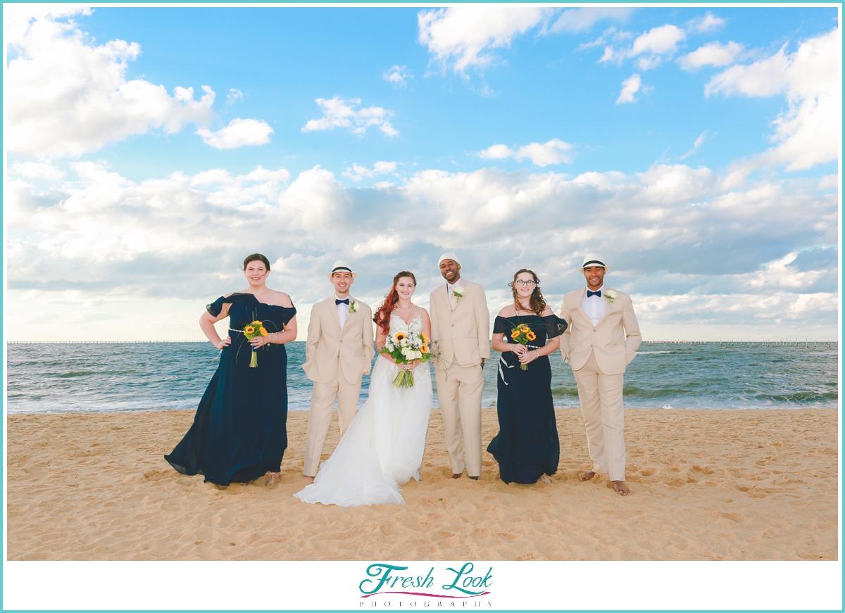 beach bridal party photos
