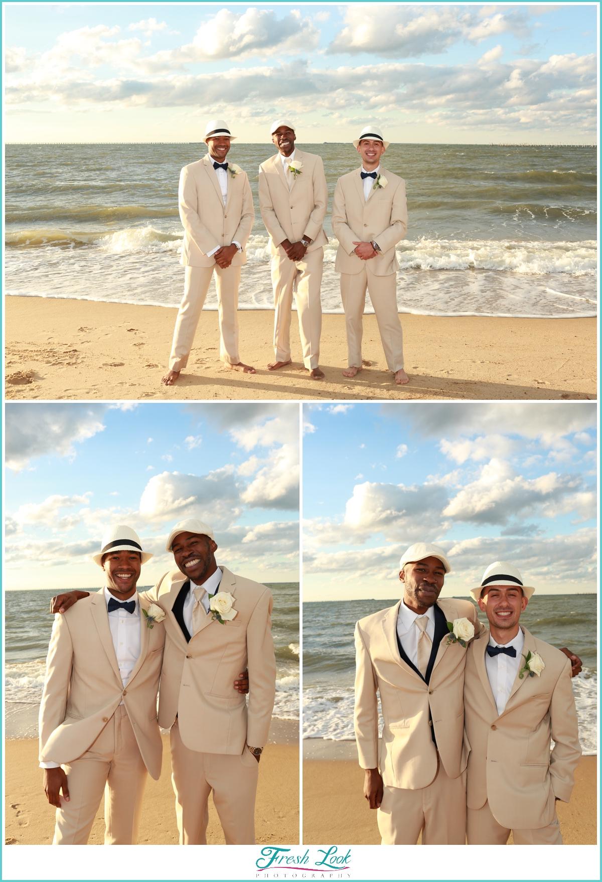 groomsmen photos on the beach