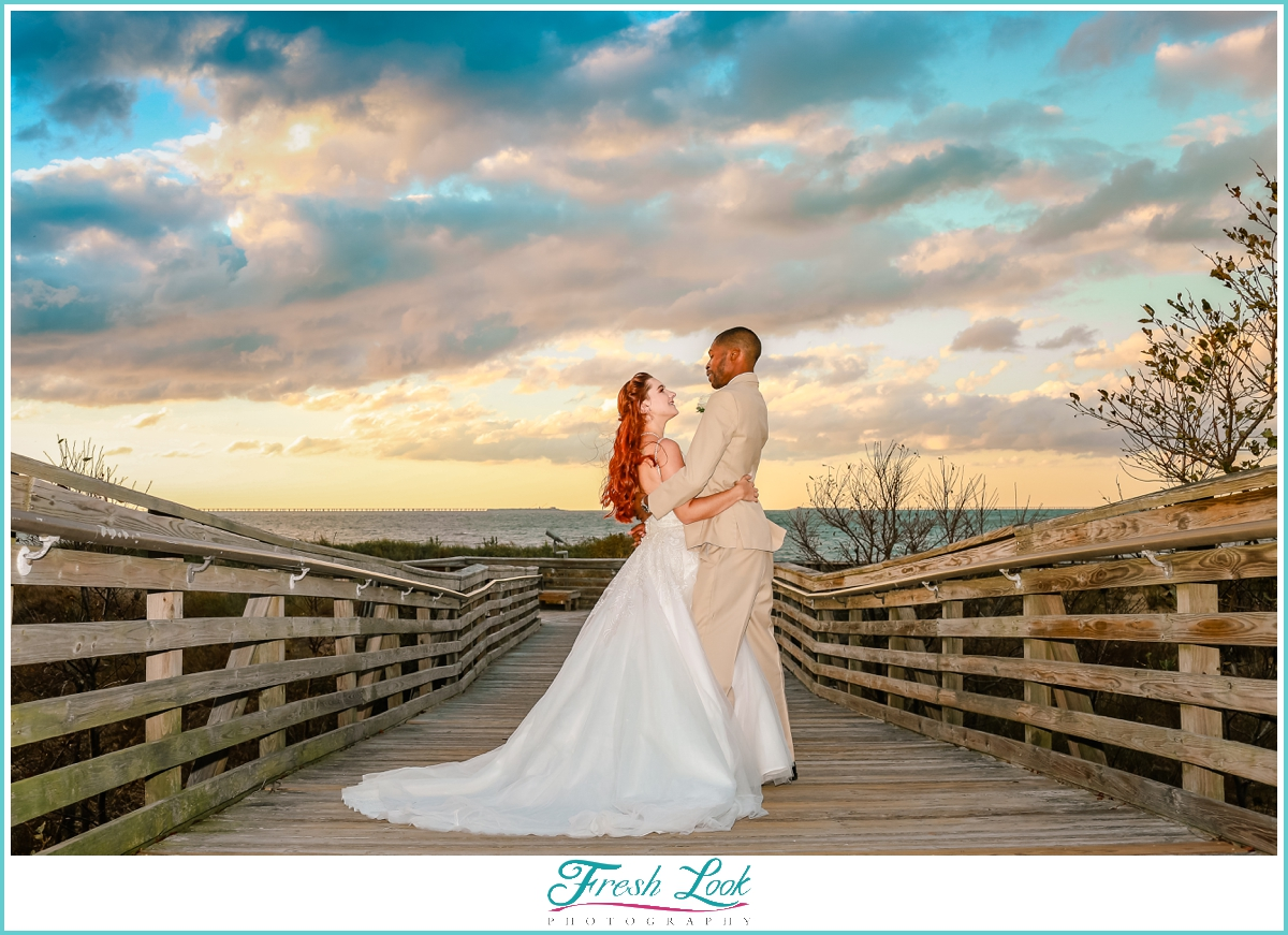 epic sunset bride and groom portrait