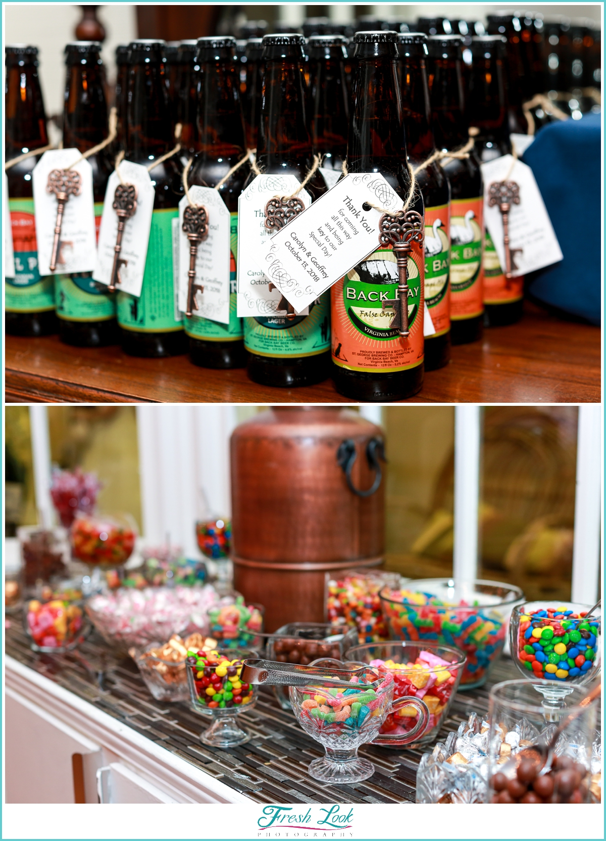 beer and candy wedding favors