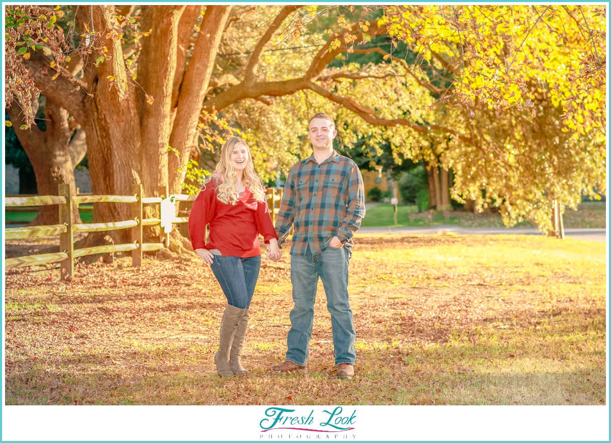 colorful fall engagement photos