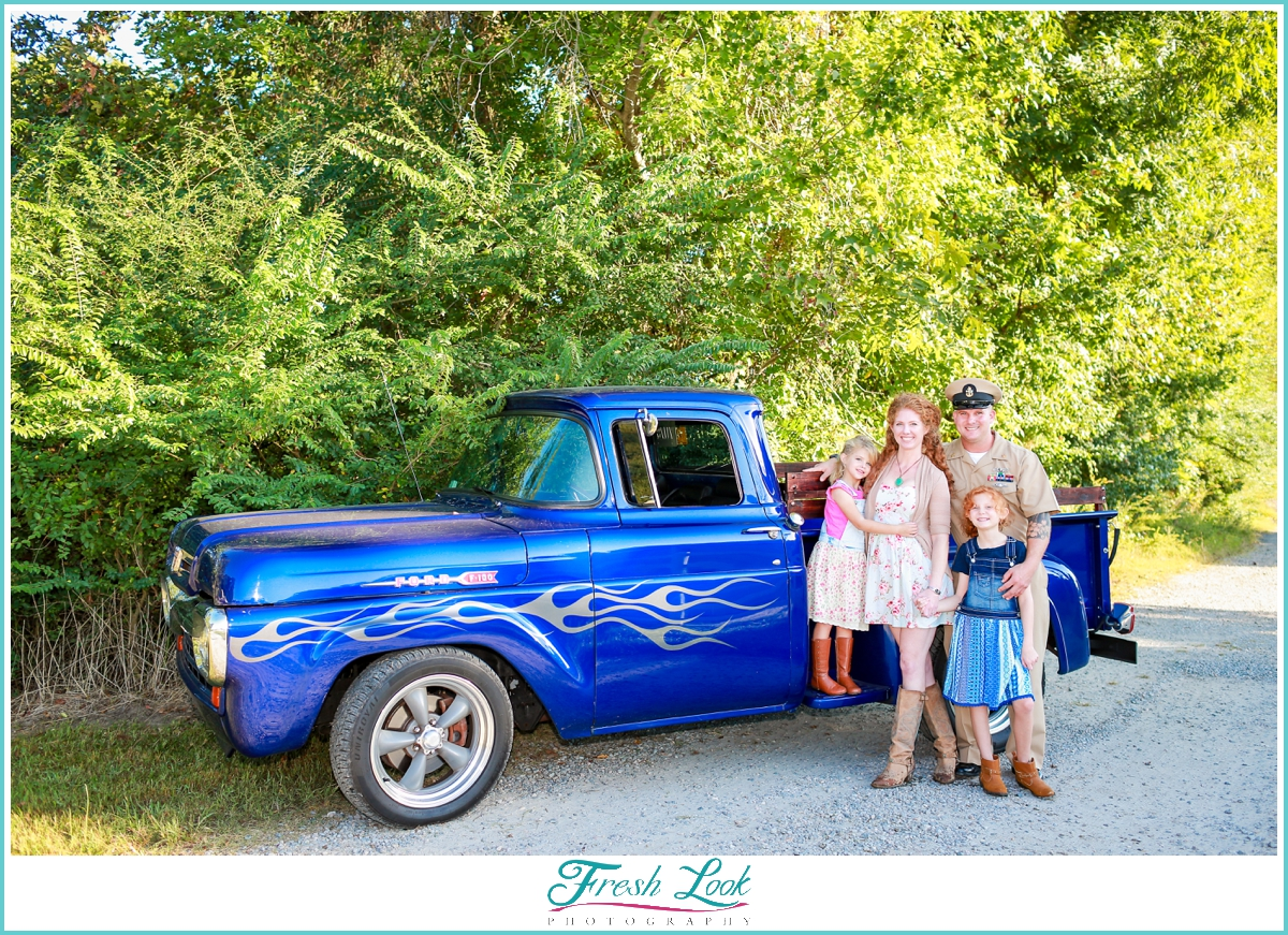 Family photos with restored Ford truck