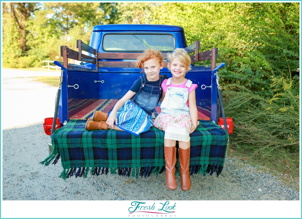family photos with vintage truck