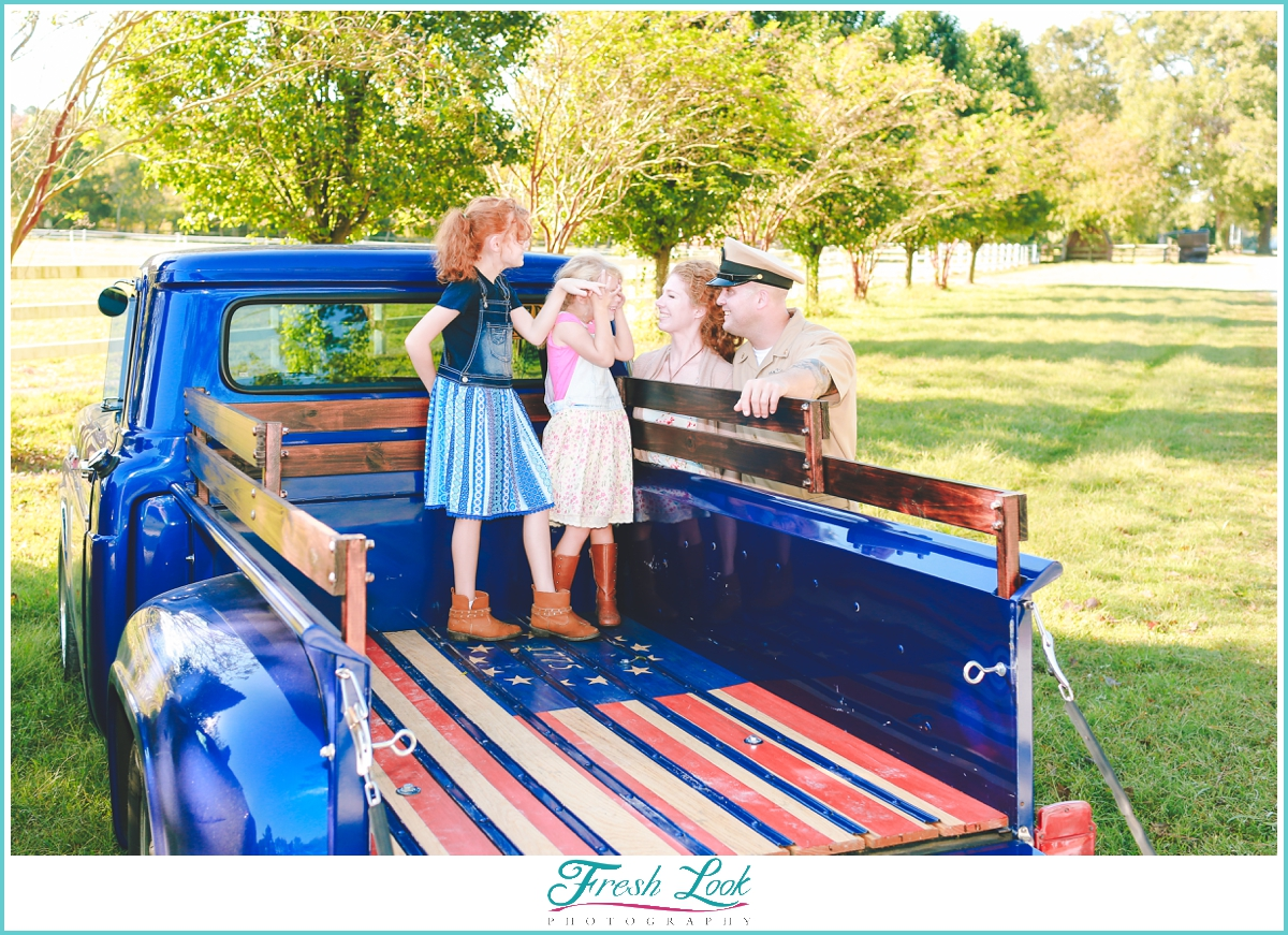 restored vintage Ford truck photo shoot