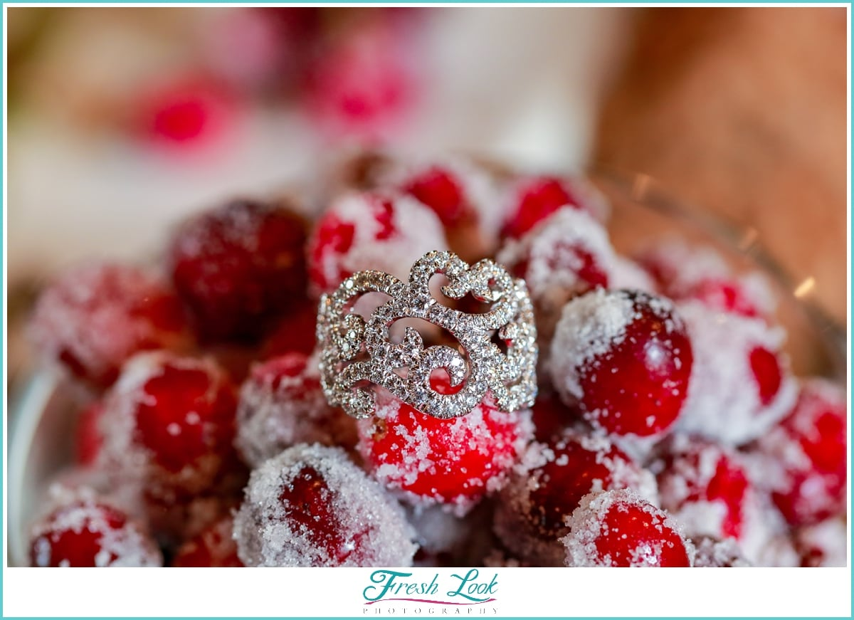 wedding ring with candied cranberries