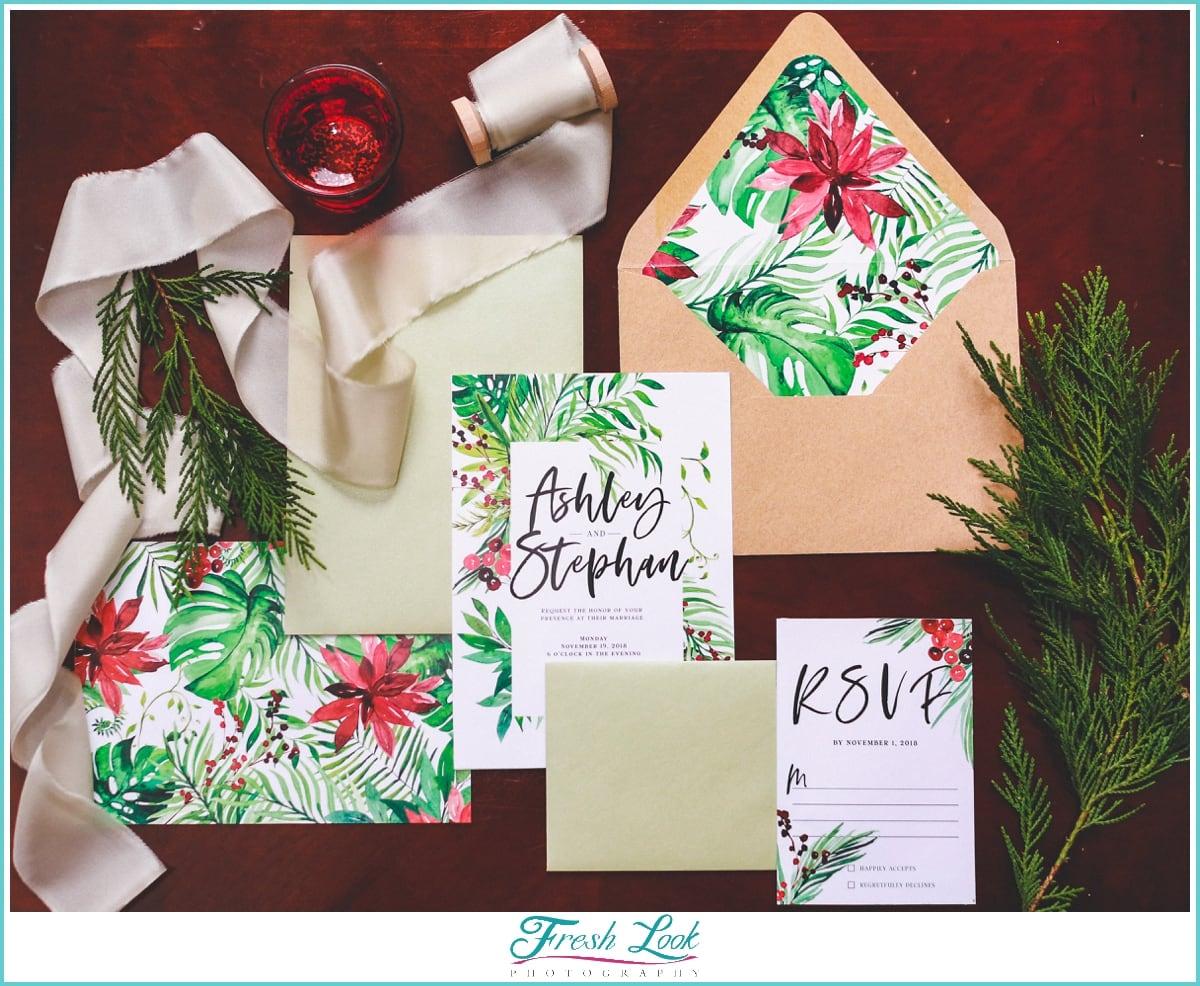 tropical Christmas wedding invitations