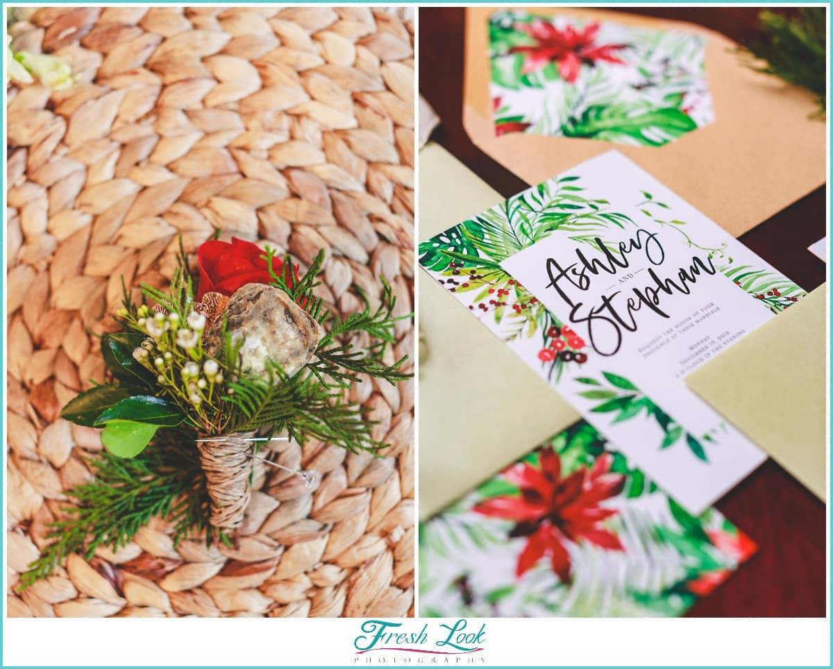 Christmas themed wedding stationery