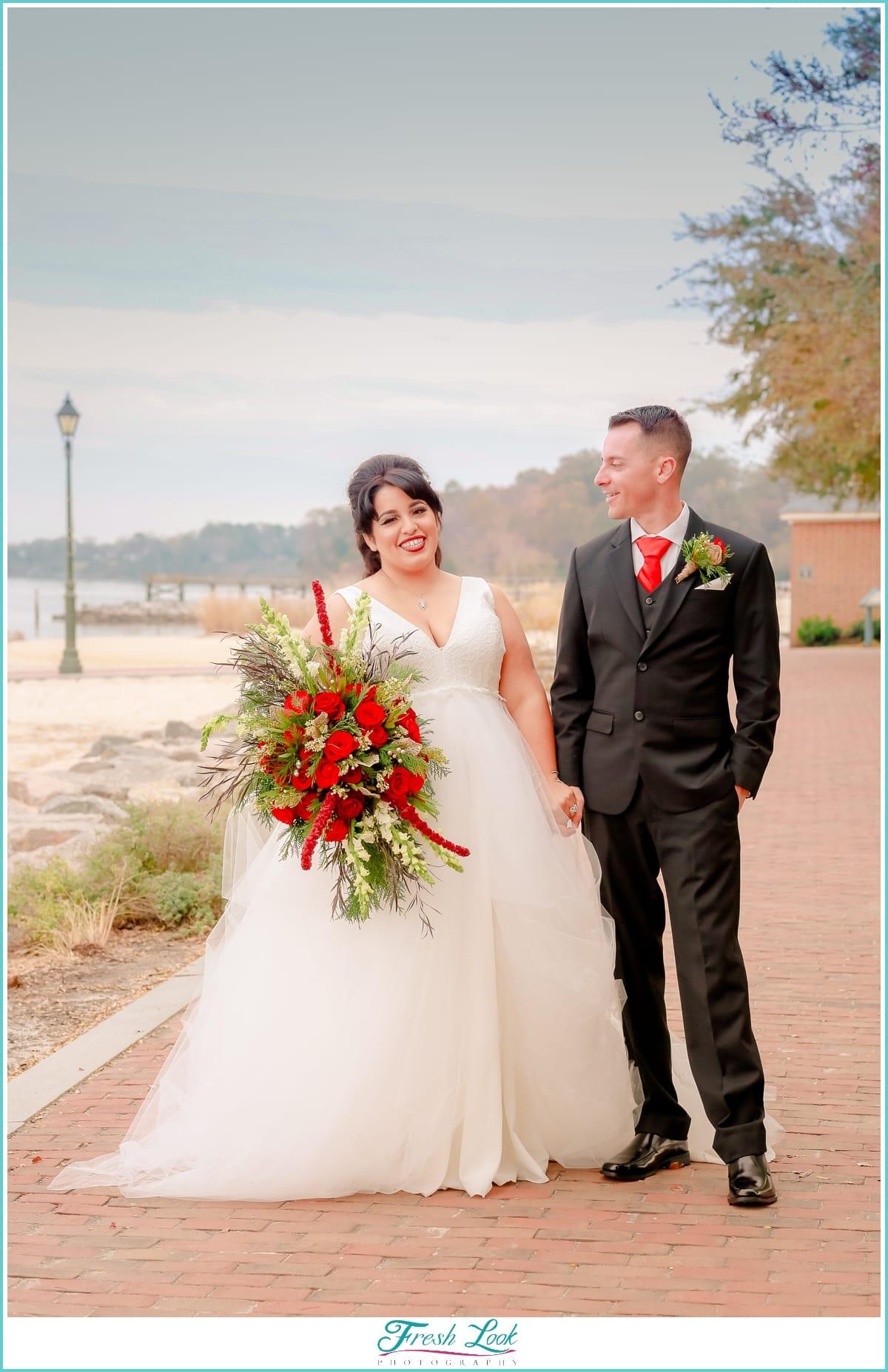 dapper groom beautiful bride