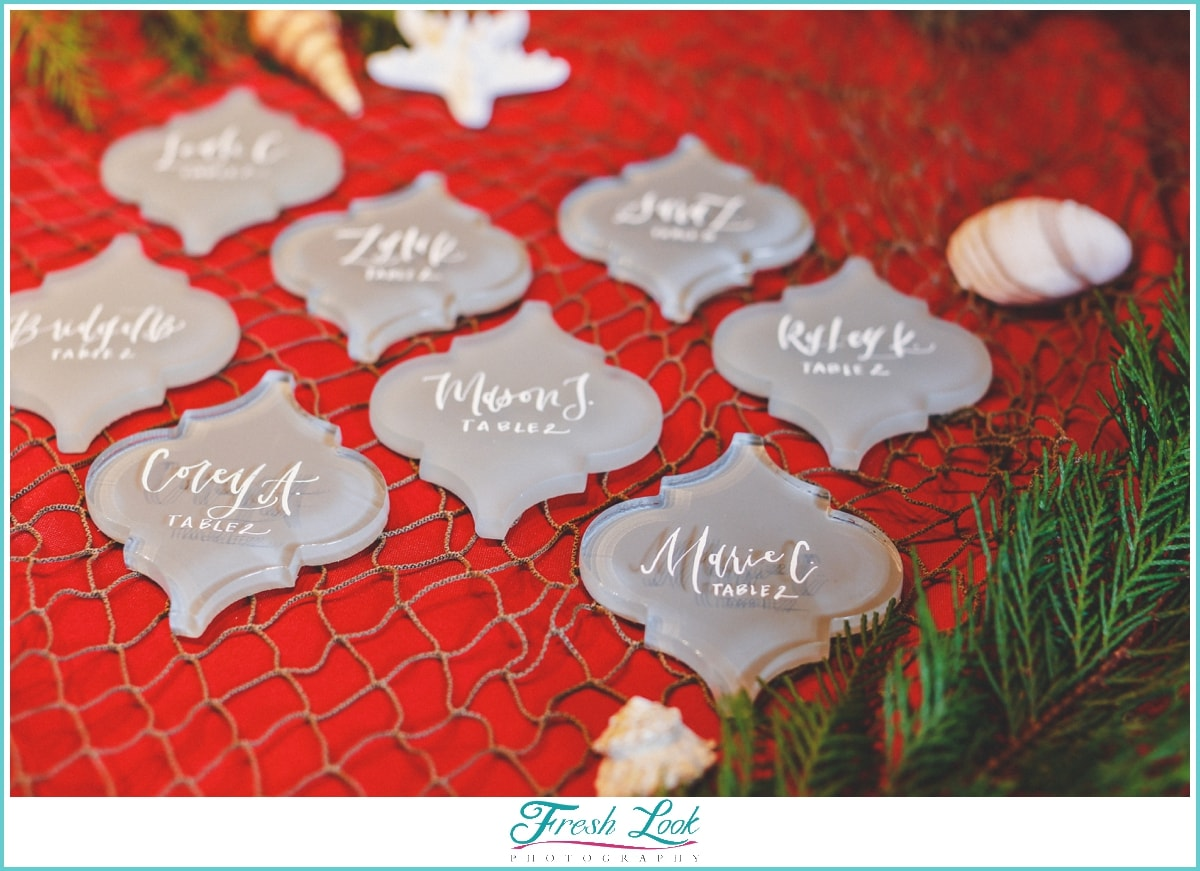 calligraphy name cards at wedding