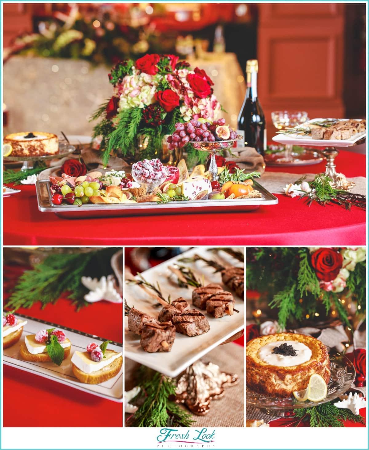 Christmas wedding reception food
