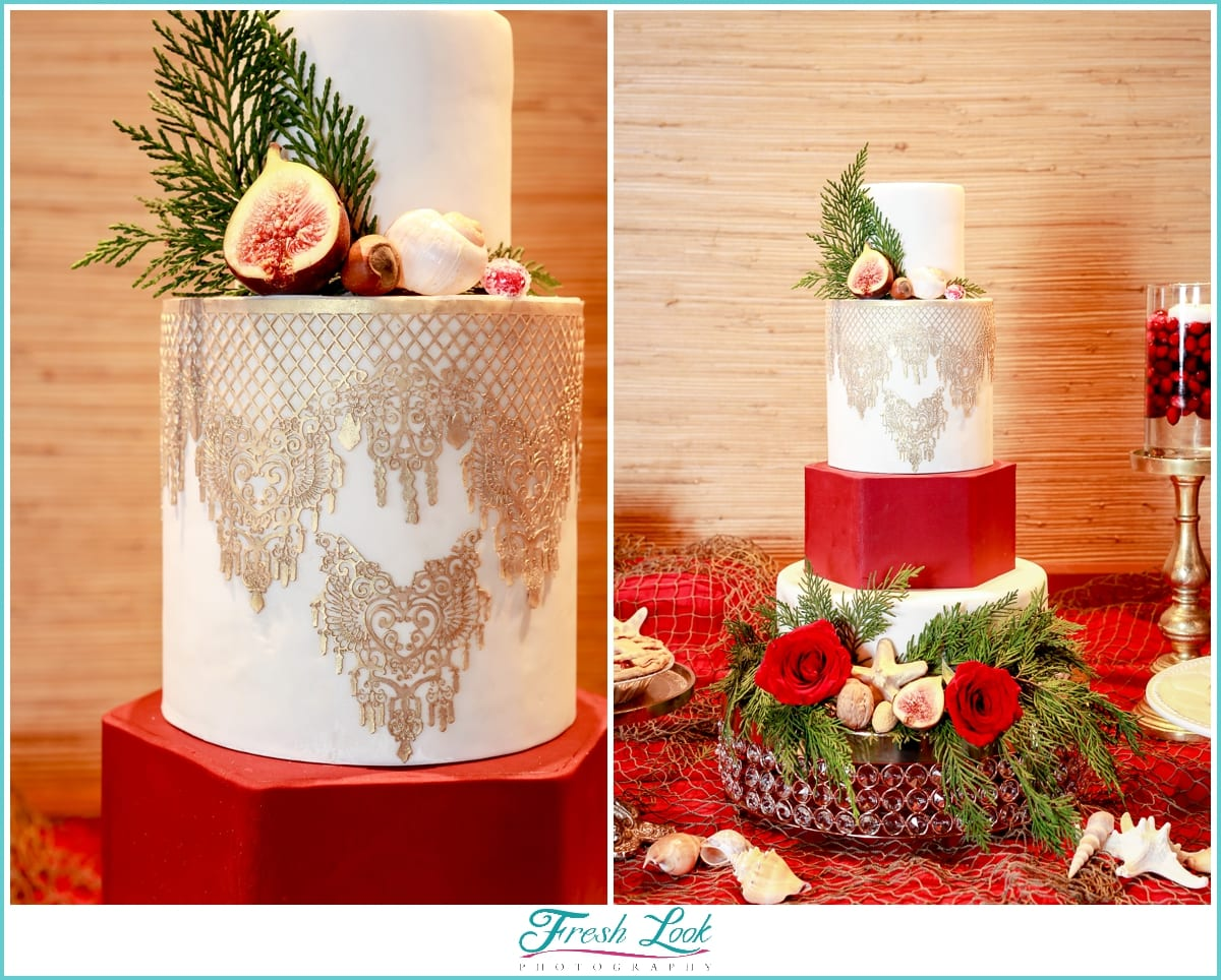 unique red and gold wedding cake