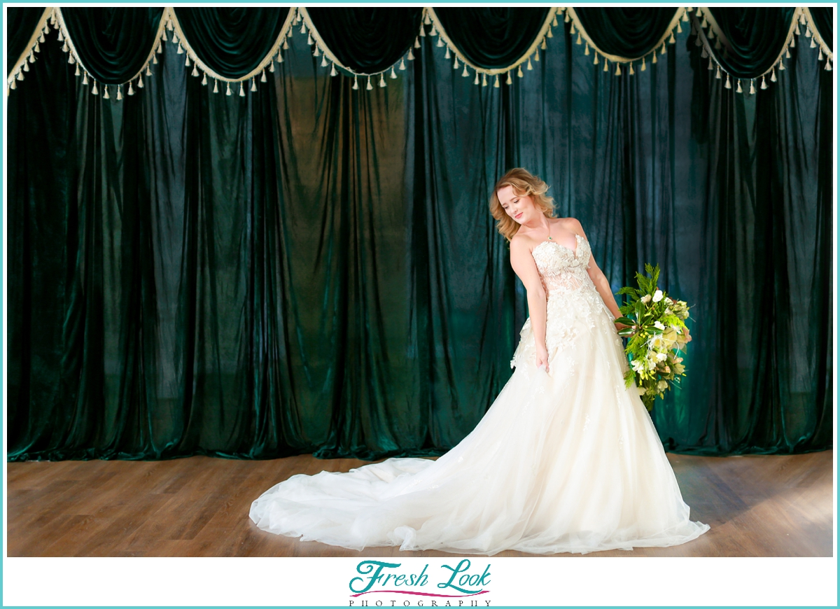 green and gold bridal gown