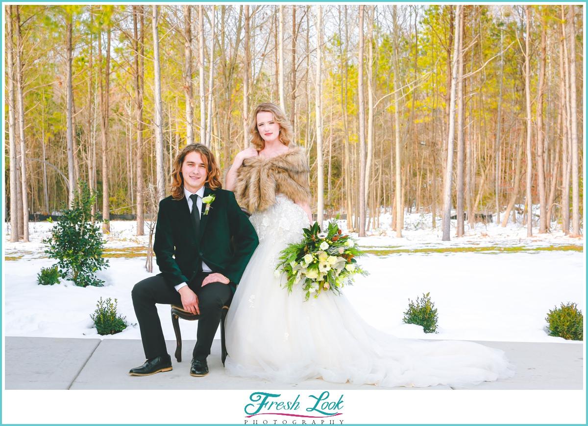 bride and groom snow portraits