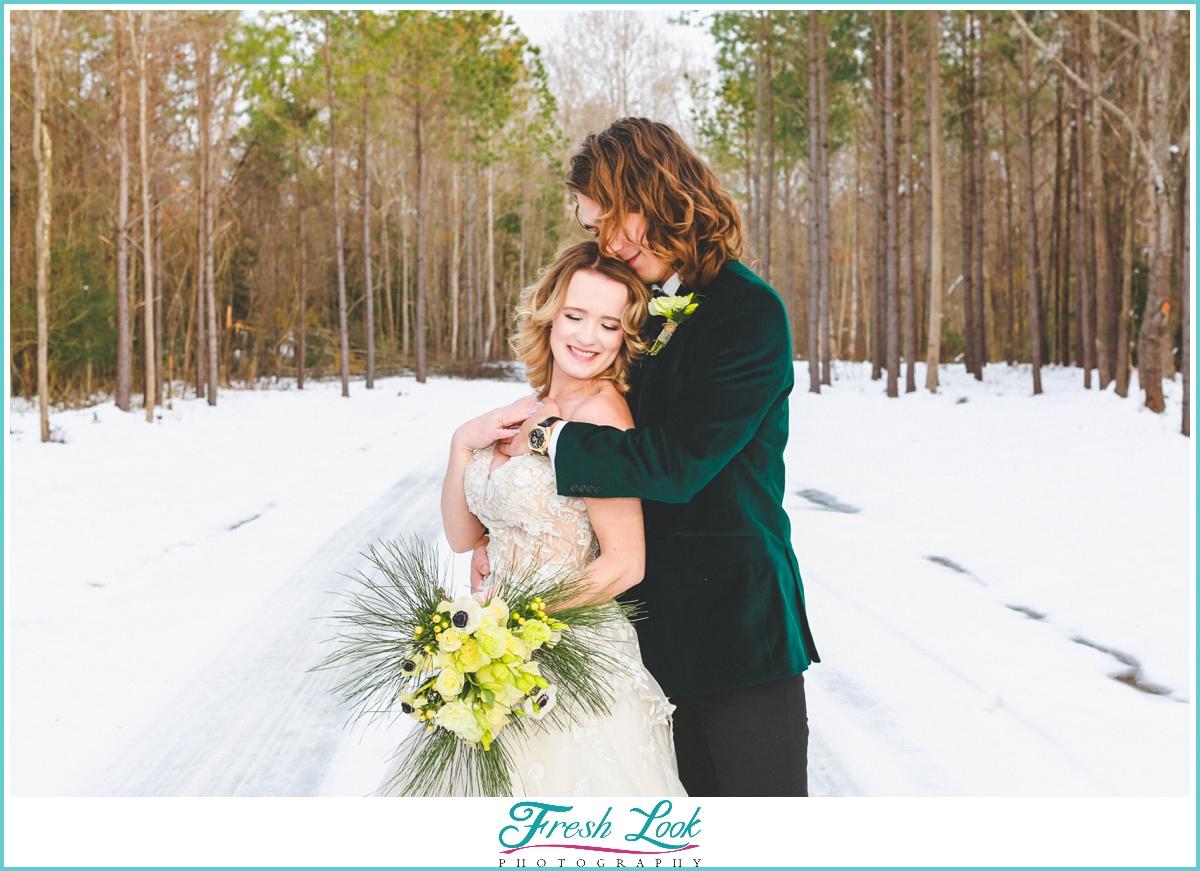 romantic snow wedding portraits