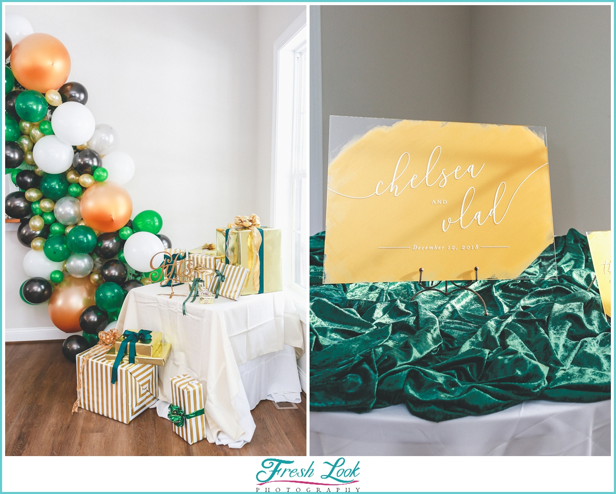 gifts and reception decor
