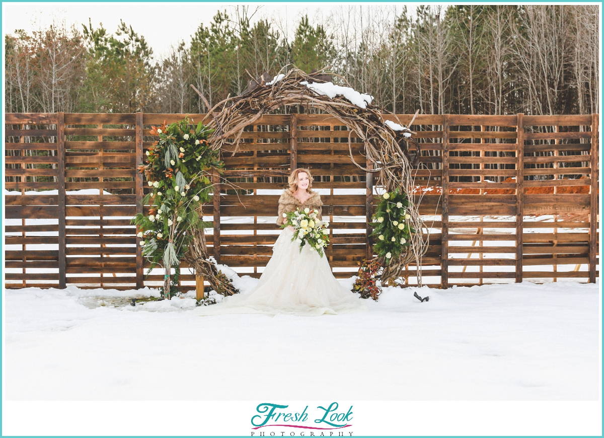 bridal portraits in the snow