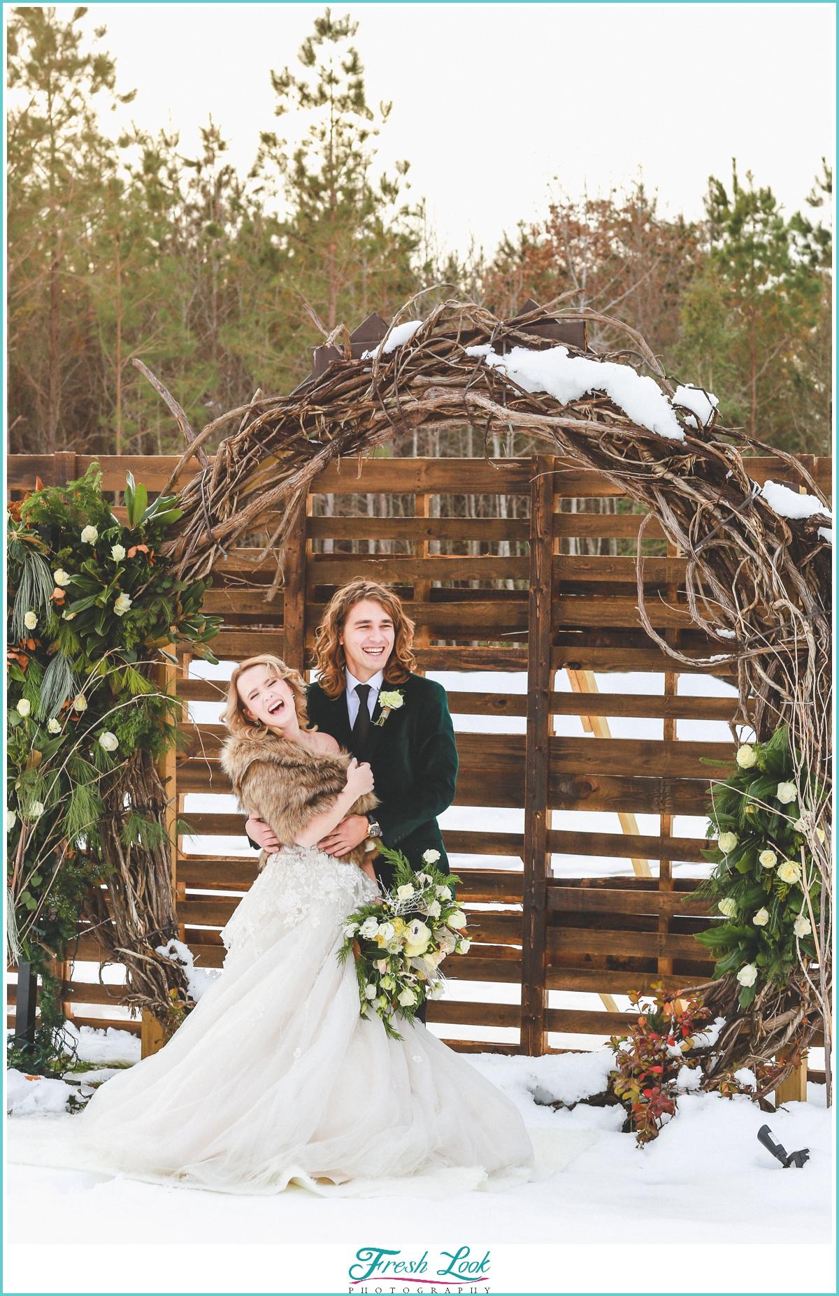 Joyful Bride and Groom portraits