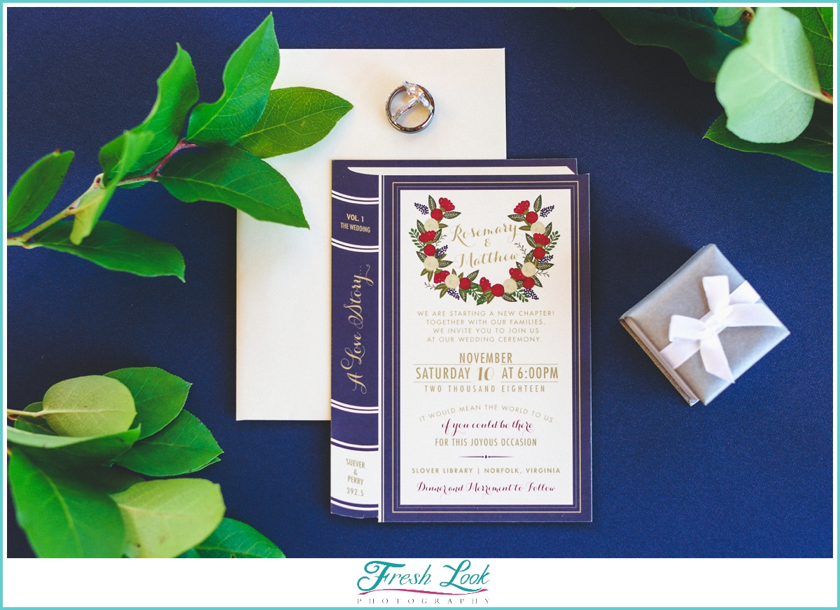 Booklover wedding invitation