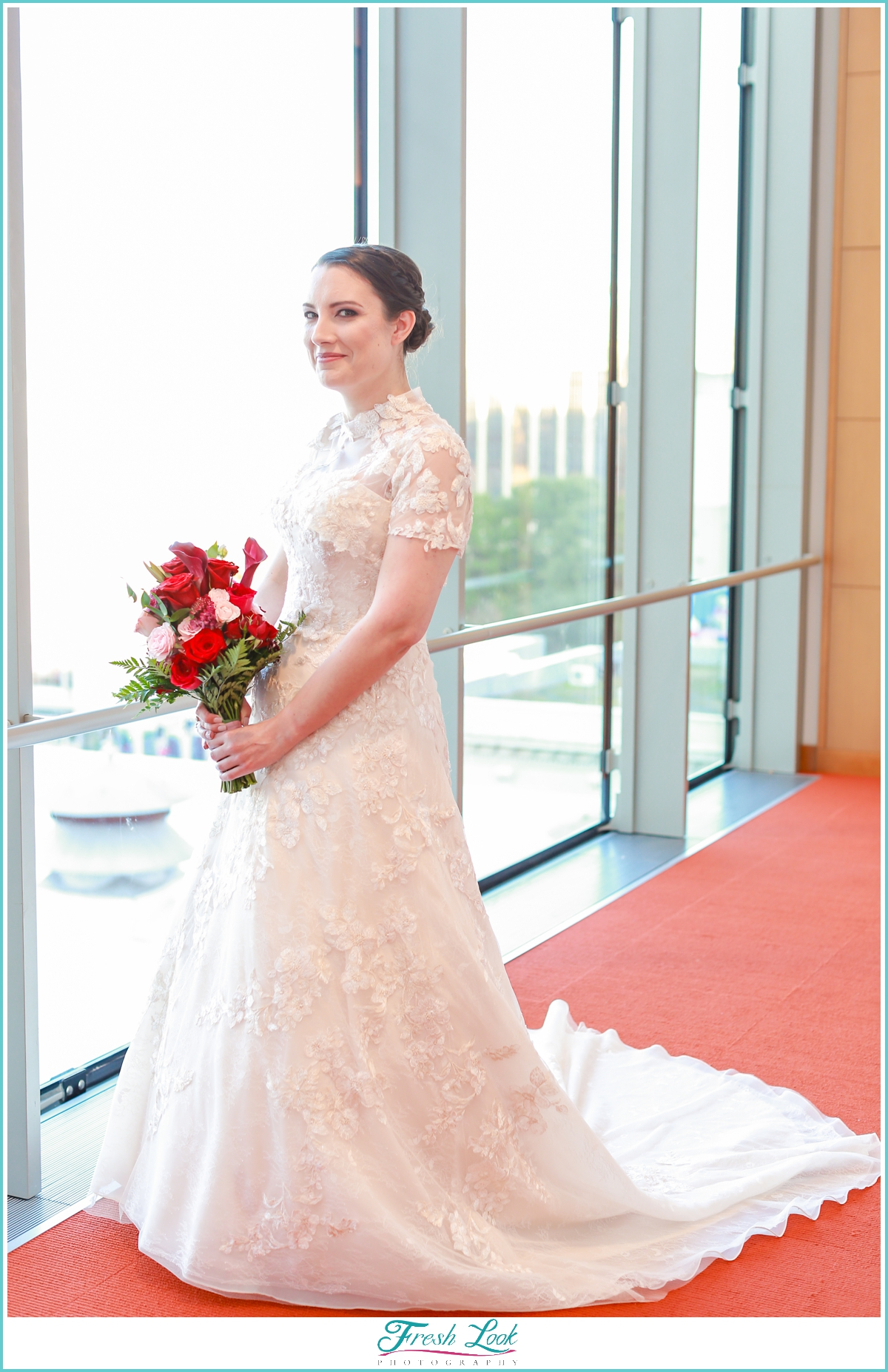 bridal portrait in the library