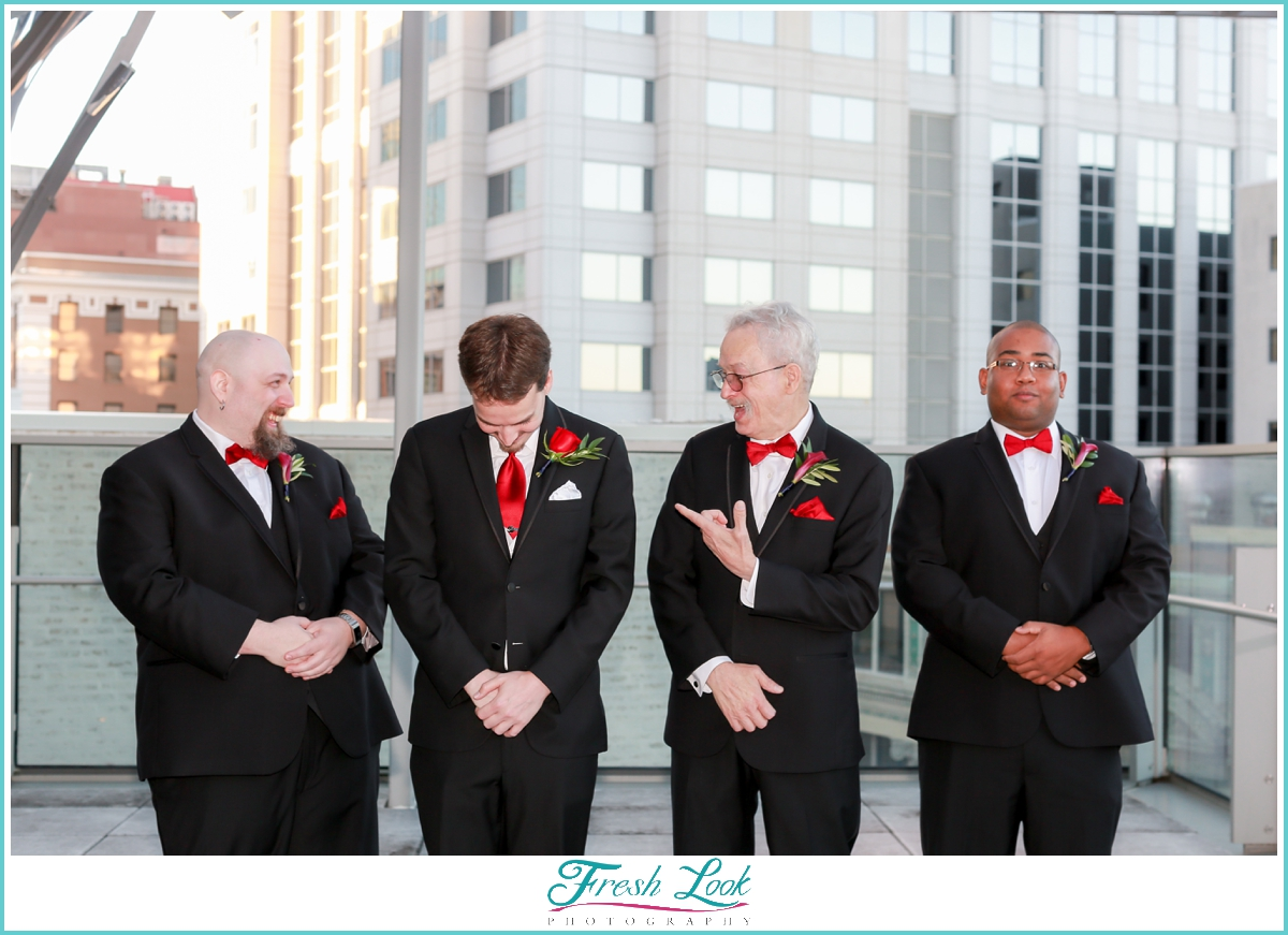 groomsmen being silly and goofing off