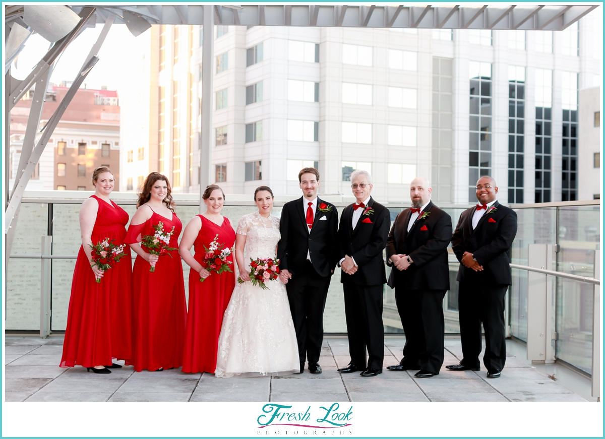 Christmas themed bridal party