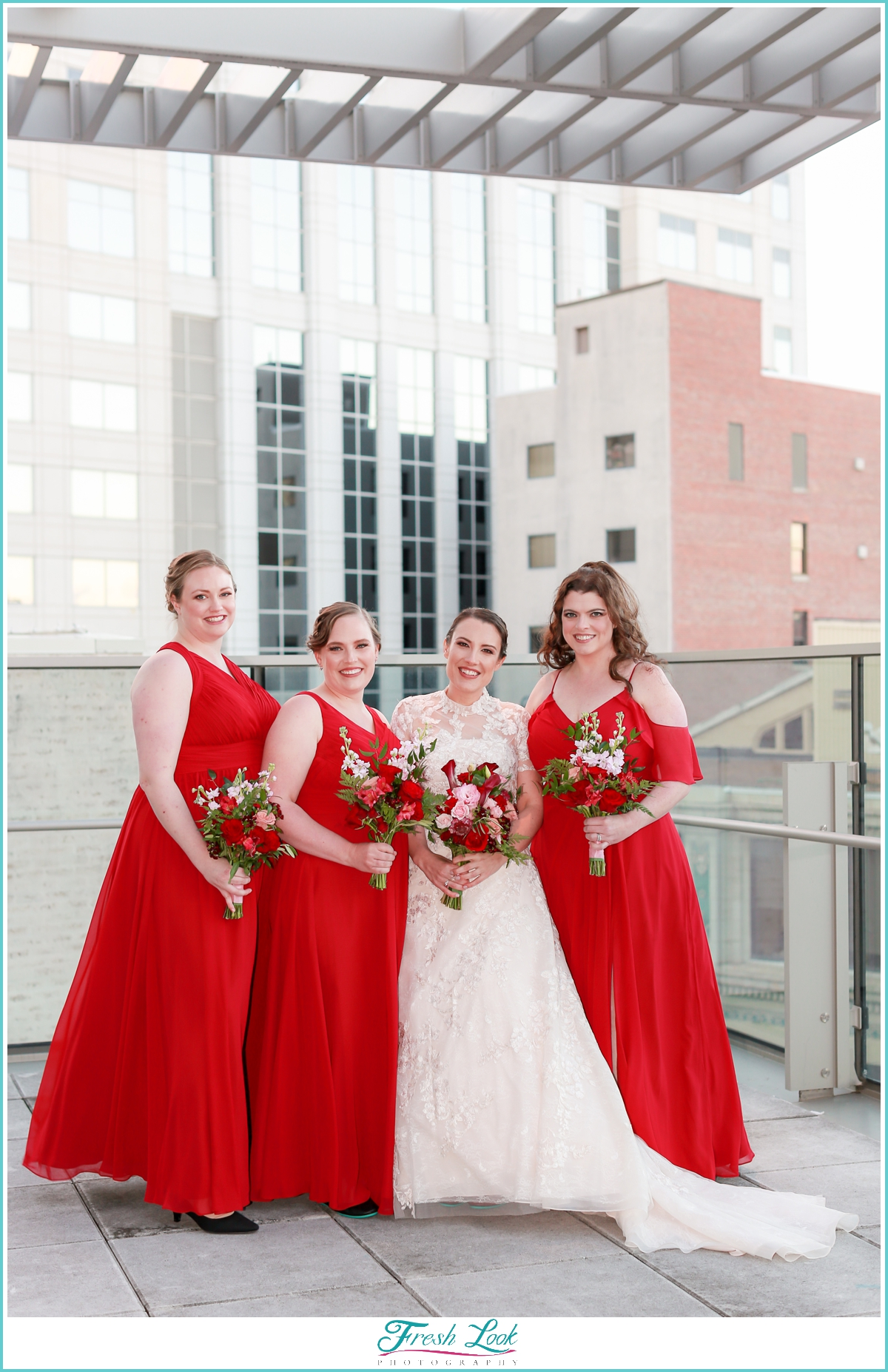 bridesmaid dresses wearing red dresses