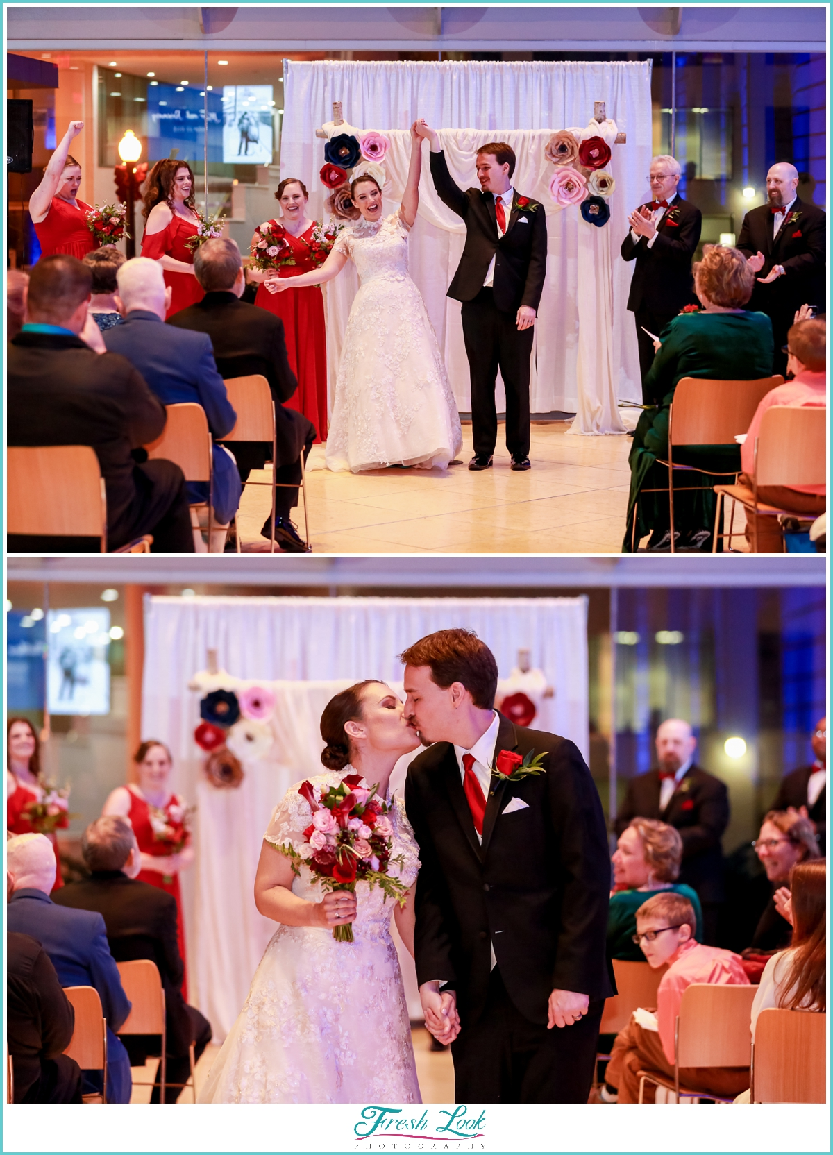 romantic library wedding ceremony