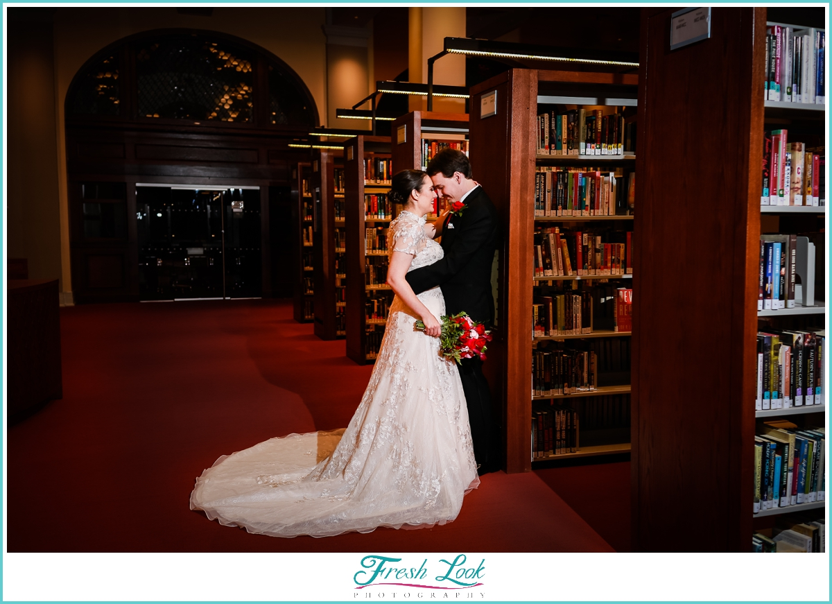 bride and groom portraits in the library
