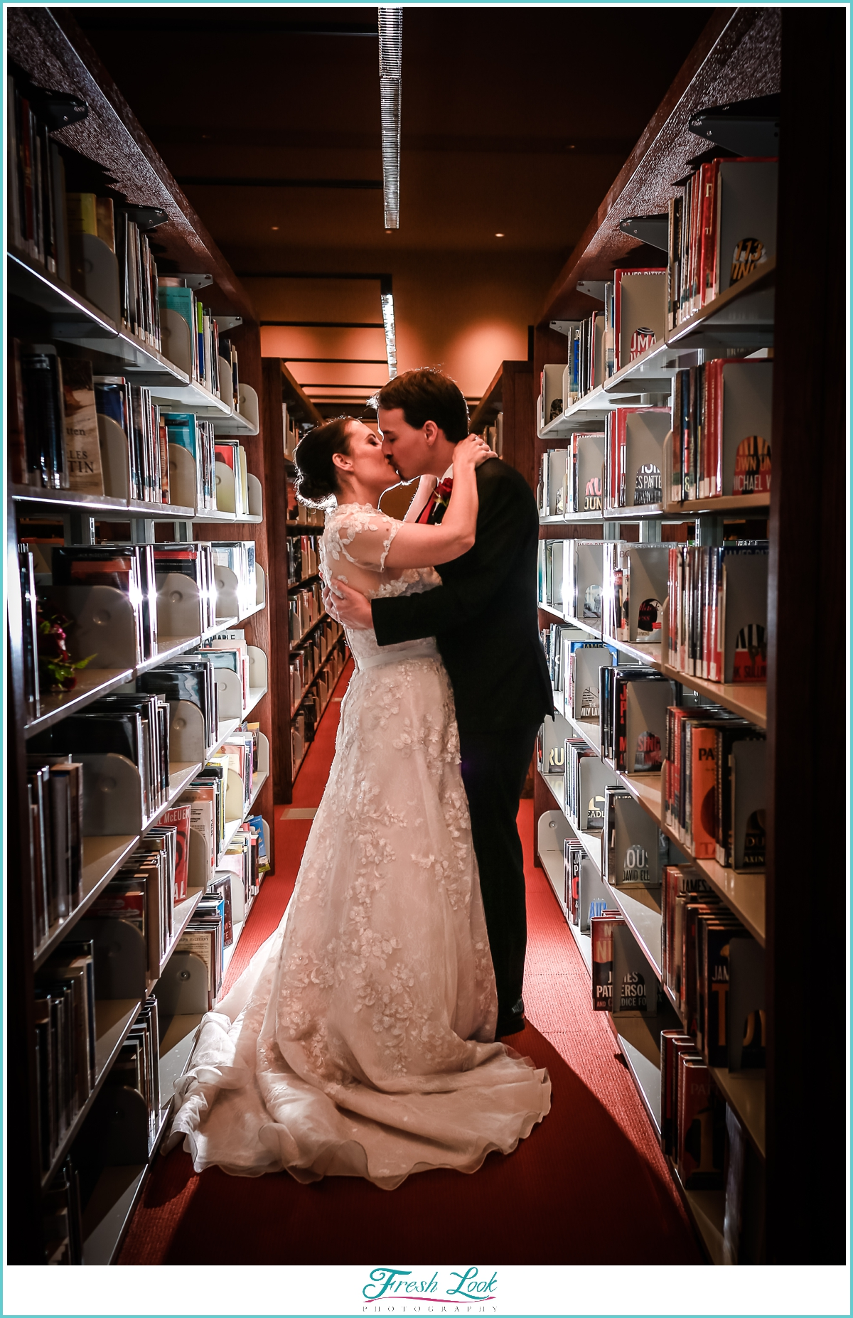 literary wedding in the library
