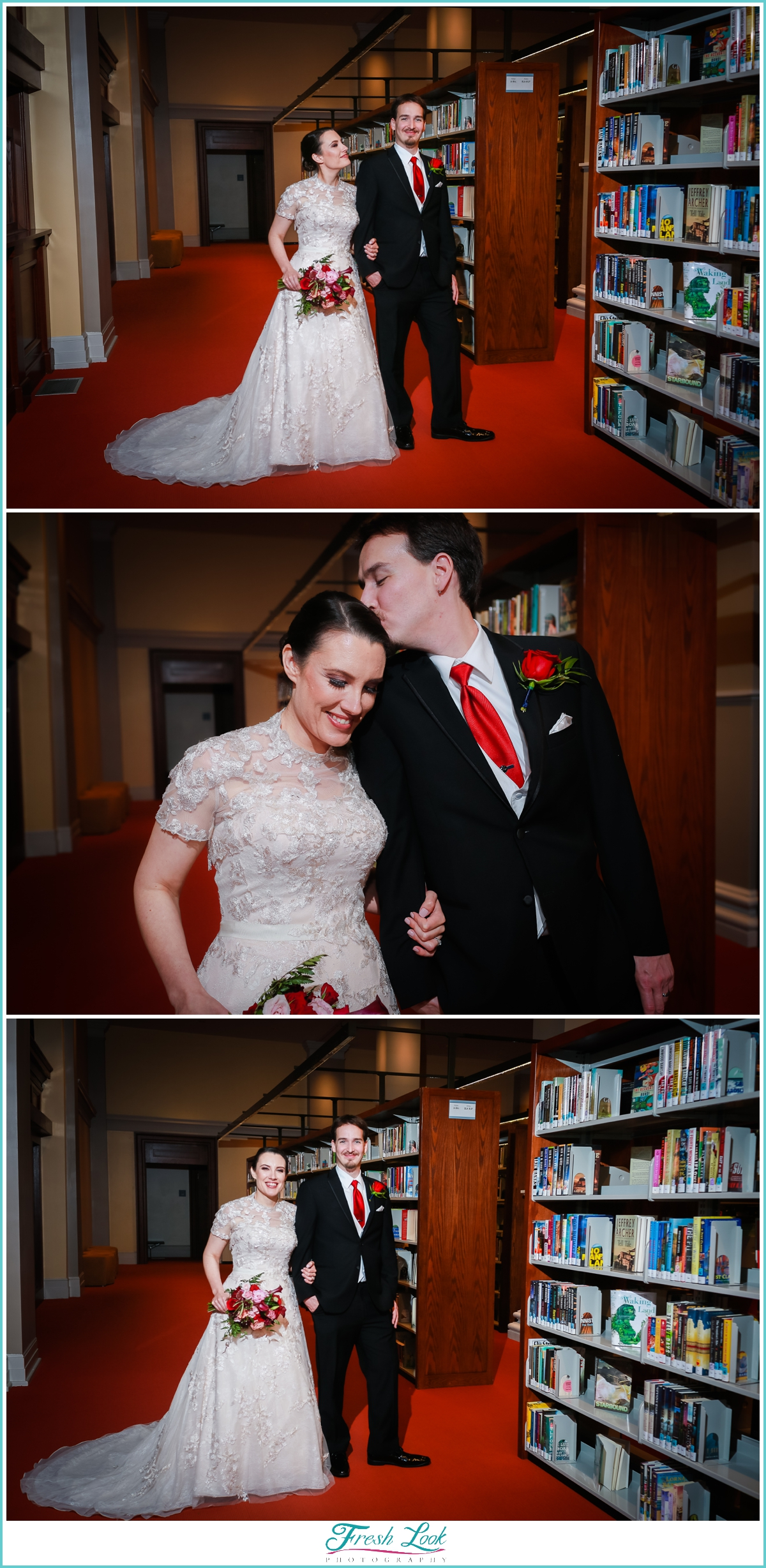 bride and groom portraits in library shelves