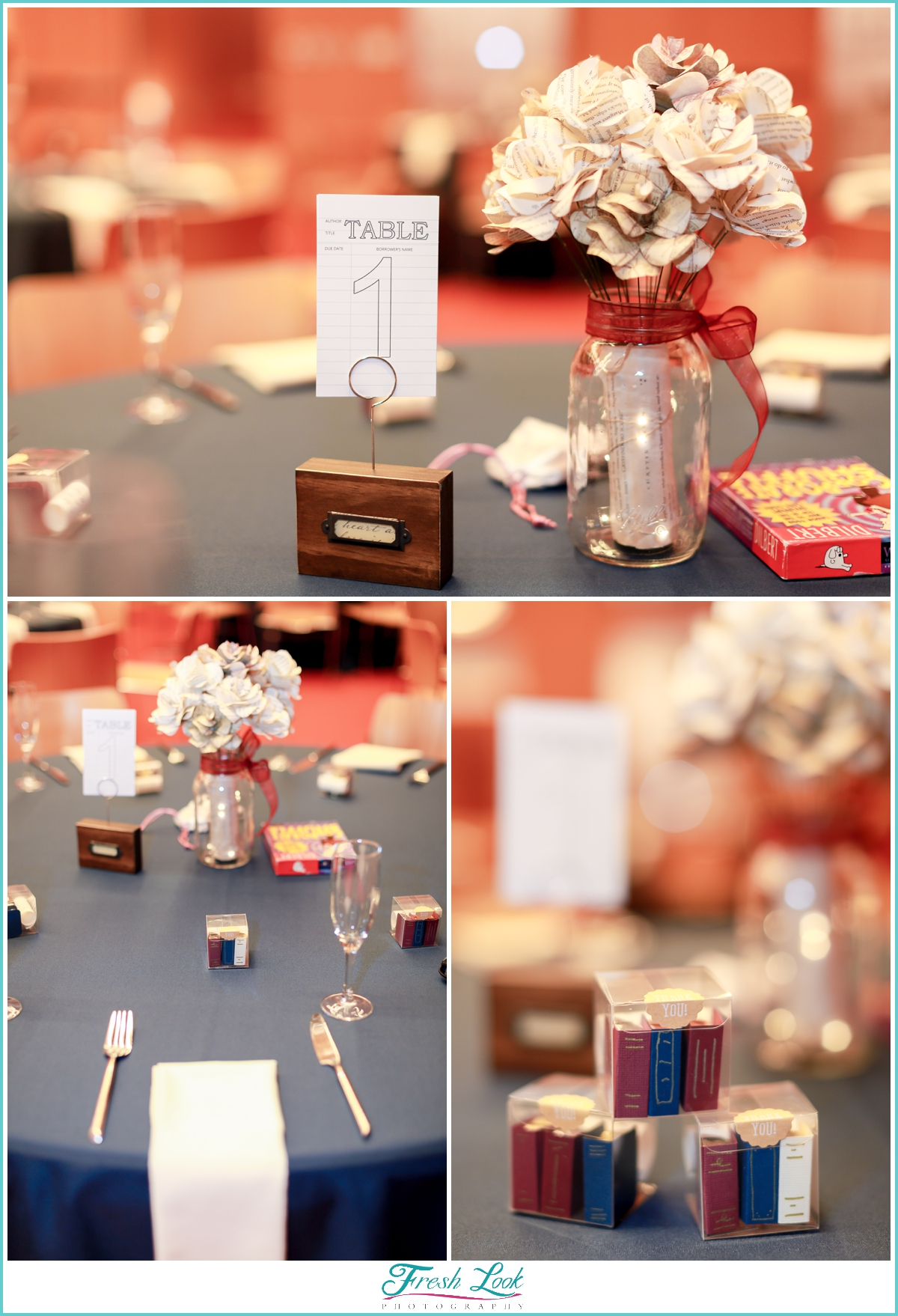 library wedding reception details