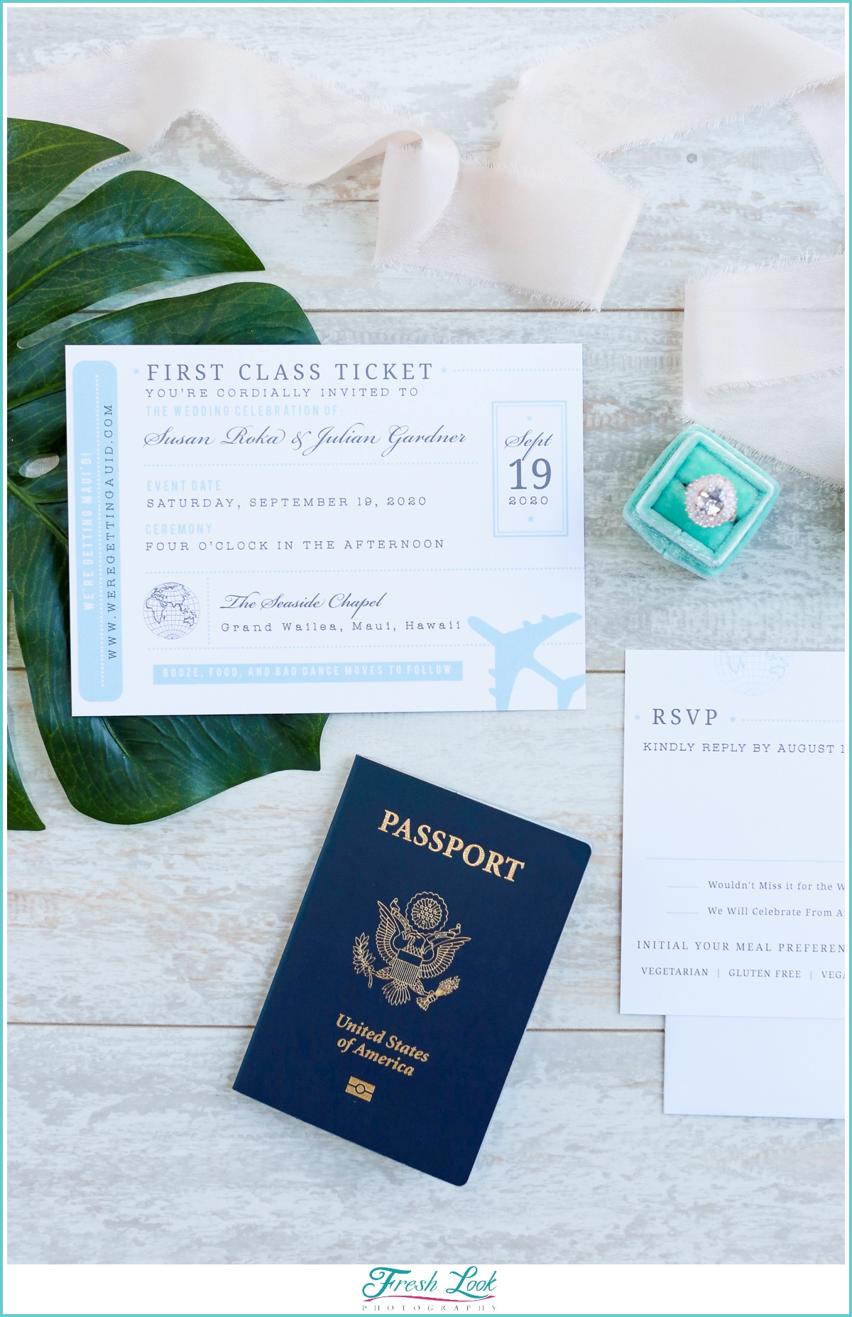 travel themed wedding stationery