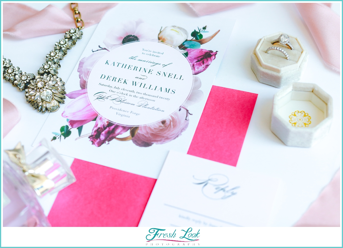 pretty in pink wedding invitation